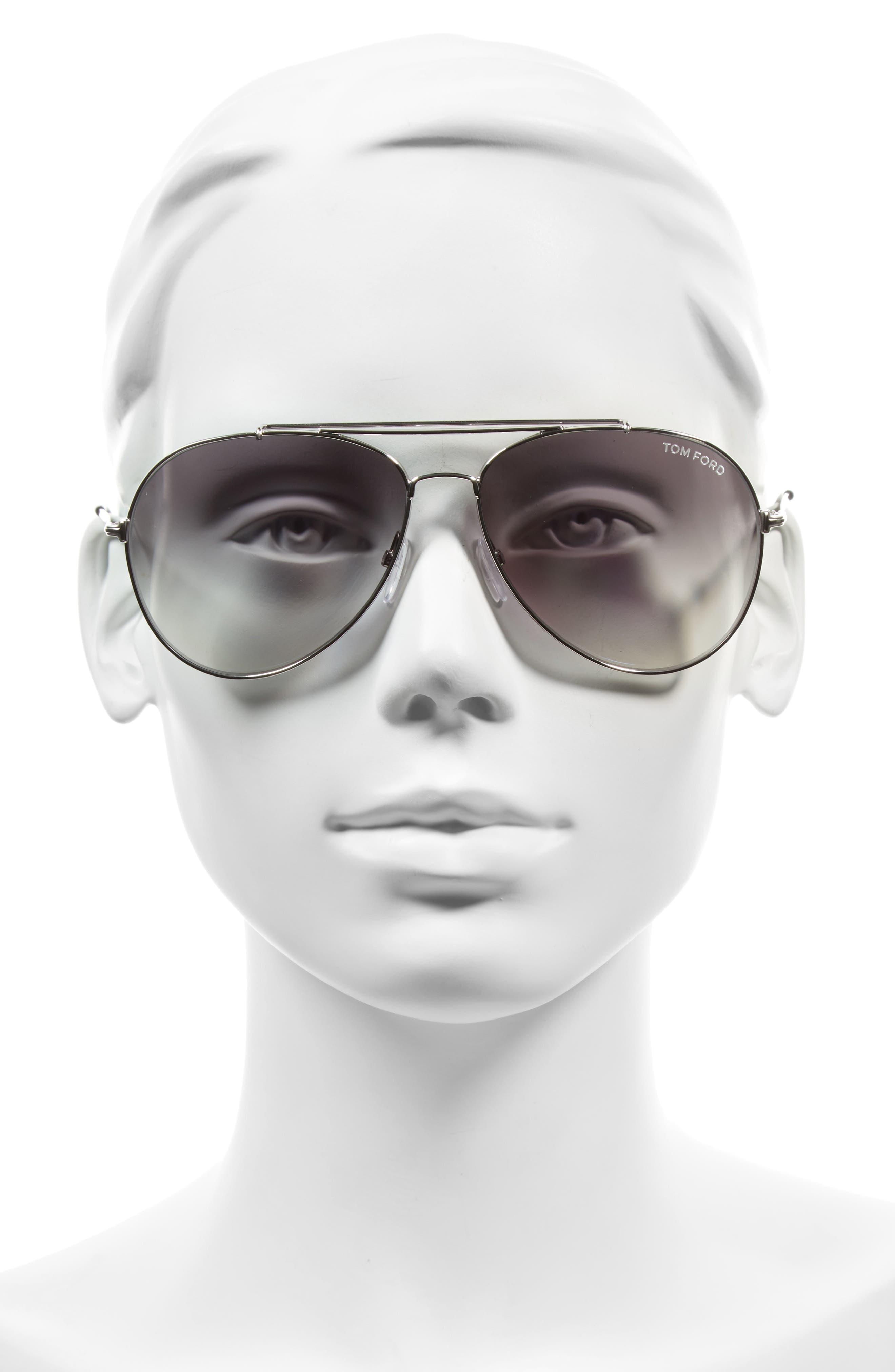 Indiana 60mm Aviator Sunglasses,                             Alternate thumbnail 2, color,                             Rhodium/ Black/ Gradient Smoke