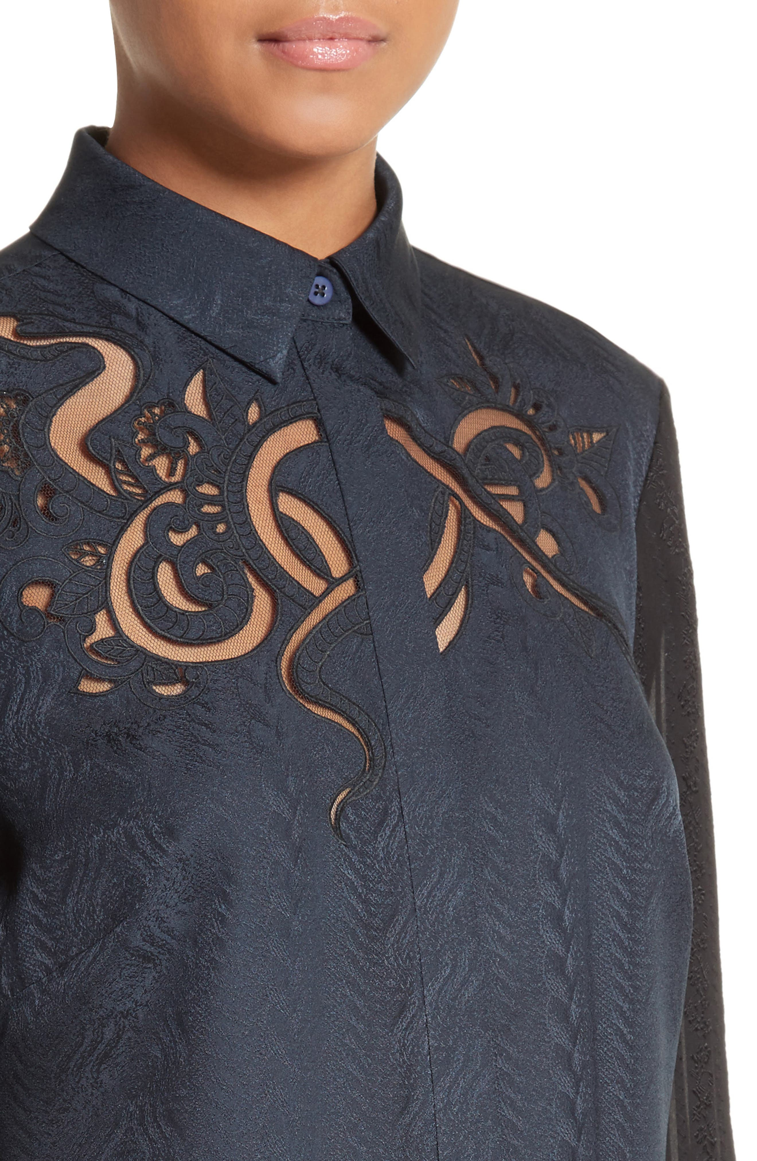 Embroidered Silk Jacquard Blouse,                             Alternate thumbnail 6, color,                             Midnight