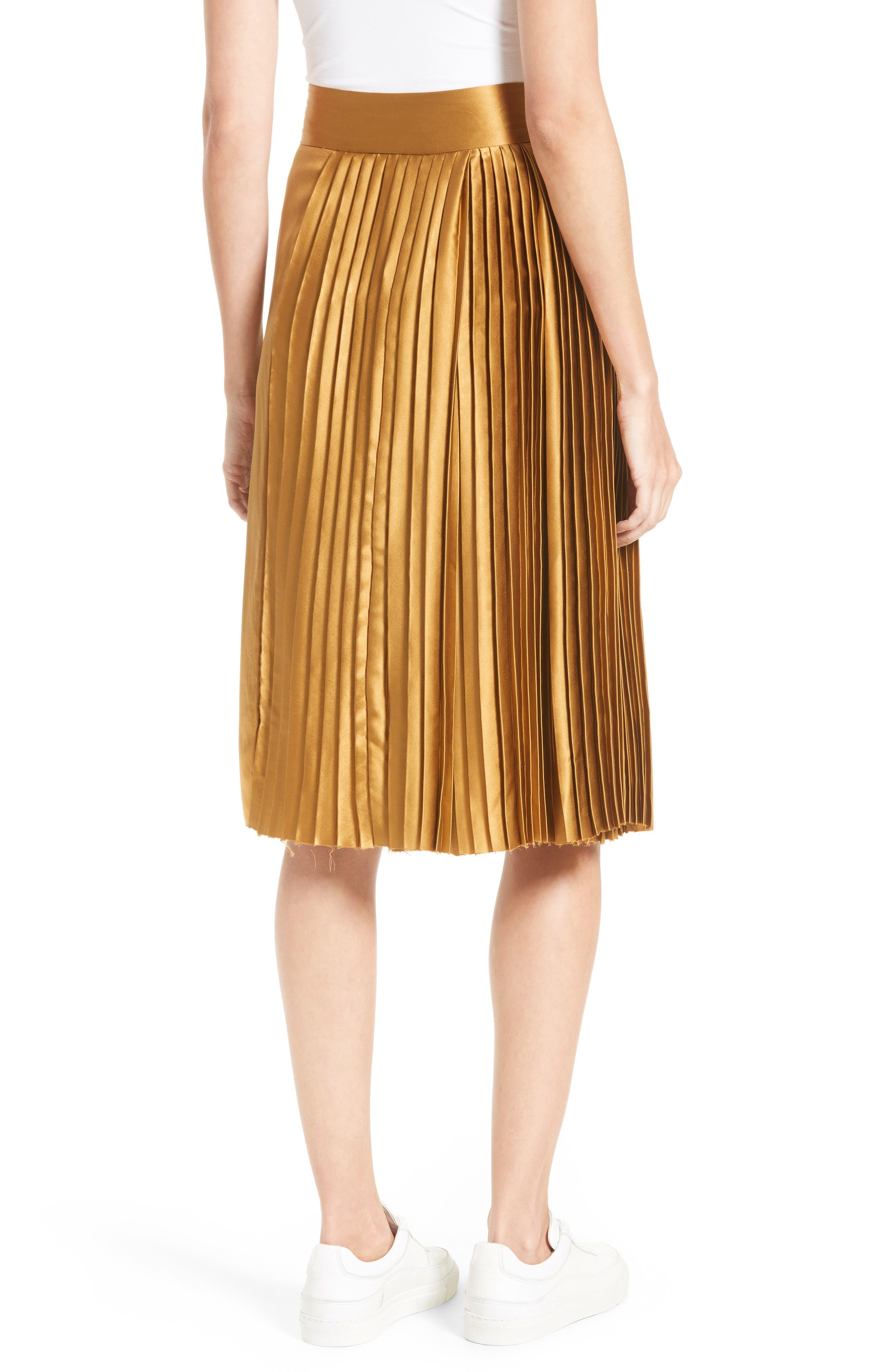 Gamil Pleated Silk Skirt,                             Alternate thumbnail 2, color,                             Bone Brown