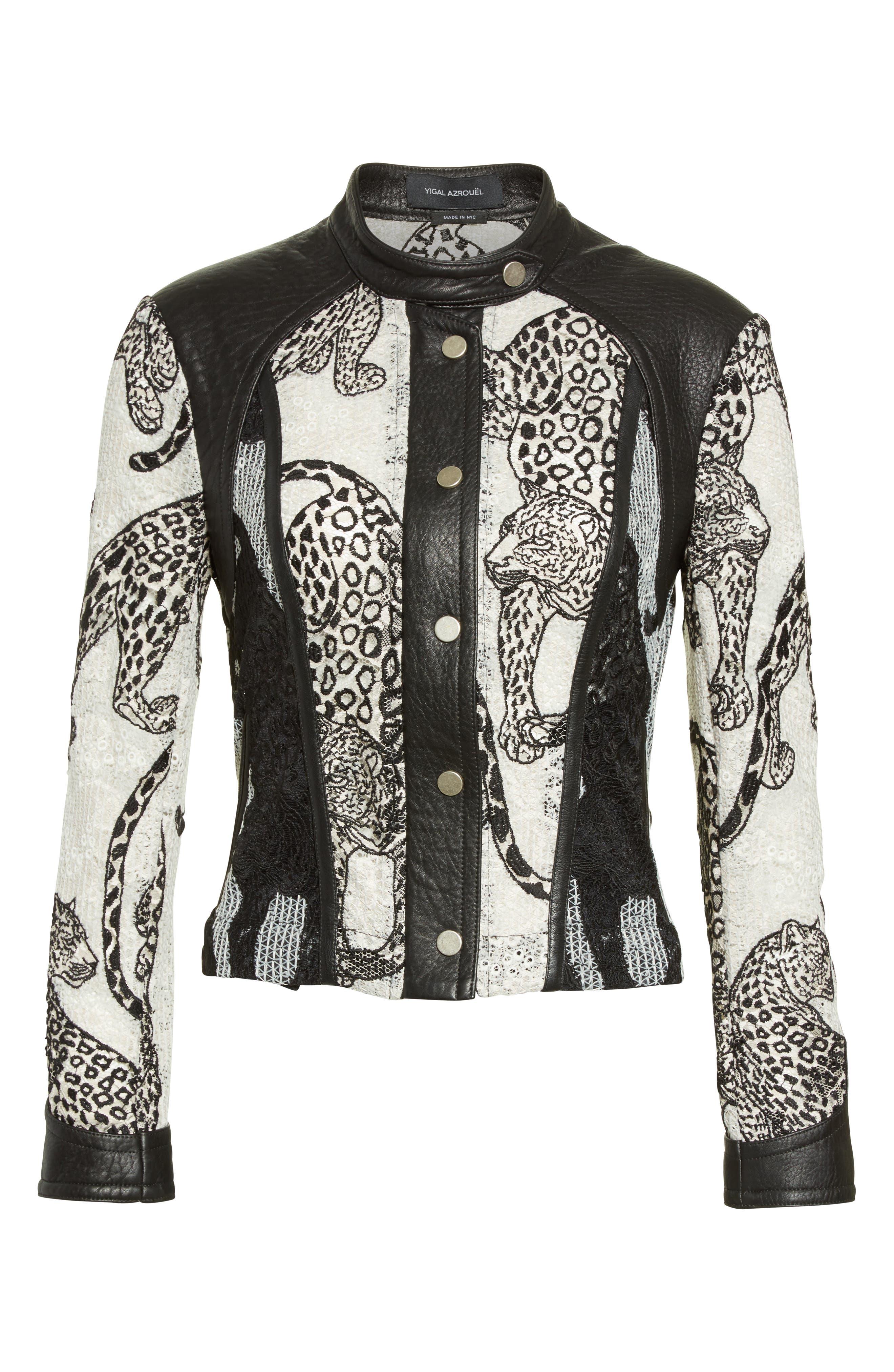 Alternate Image 4  - Yigal Azrouël Lace & Leather Moto Jacket