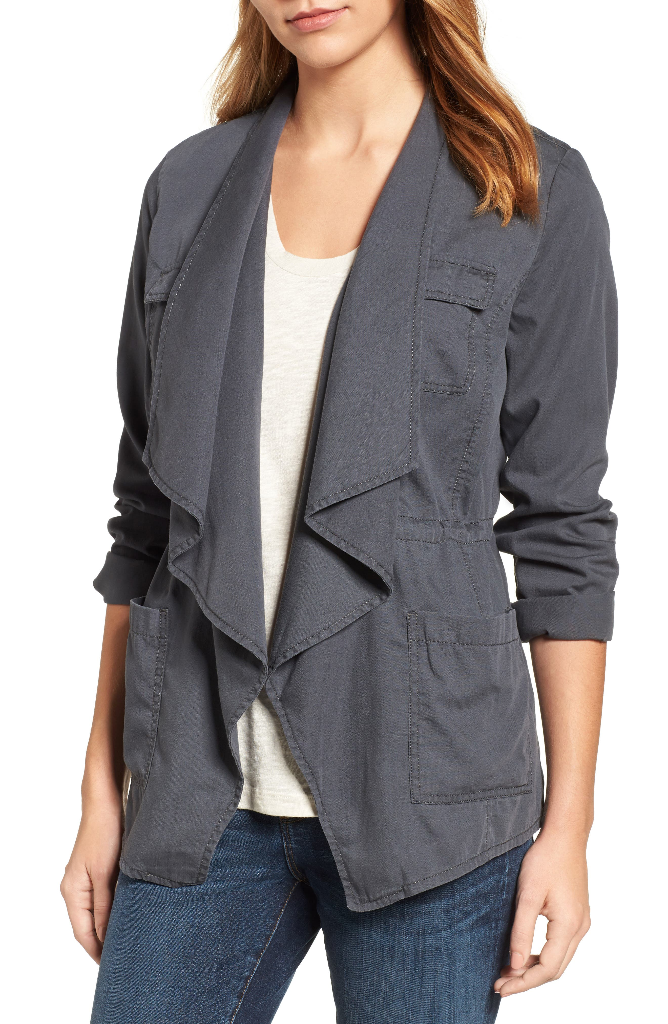 Main Image - Caslon® Draped Utility Jacket (Regular & Petite)