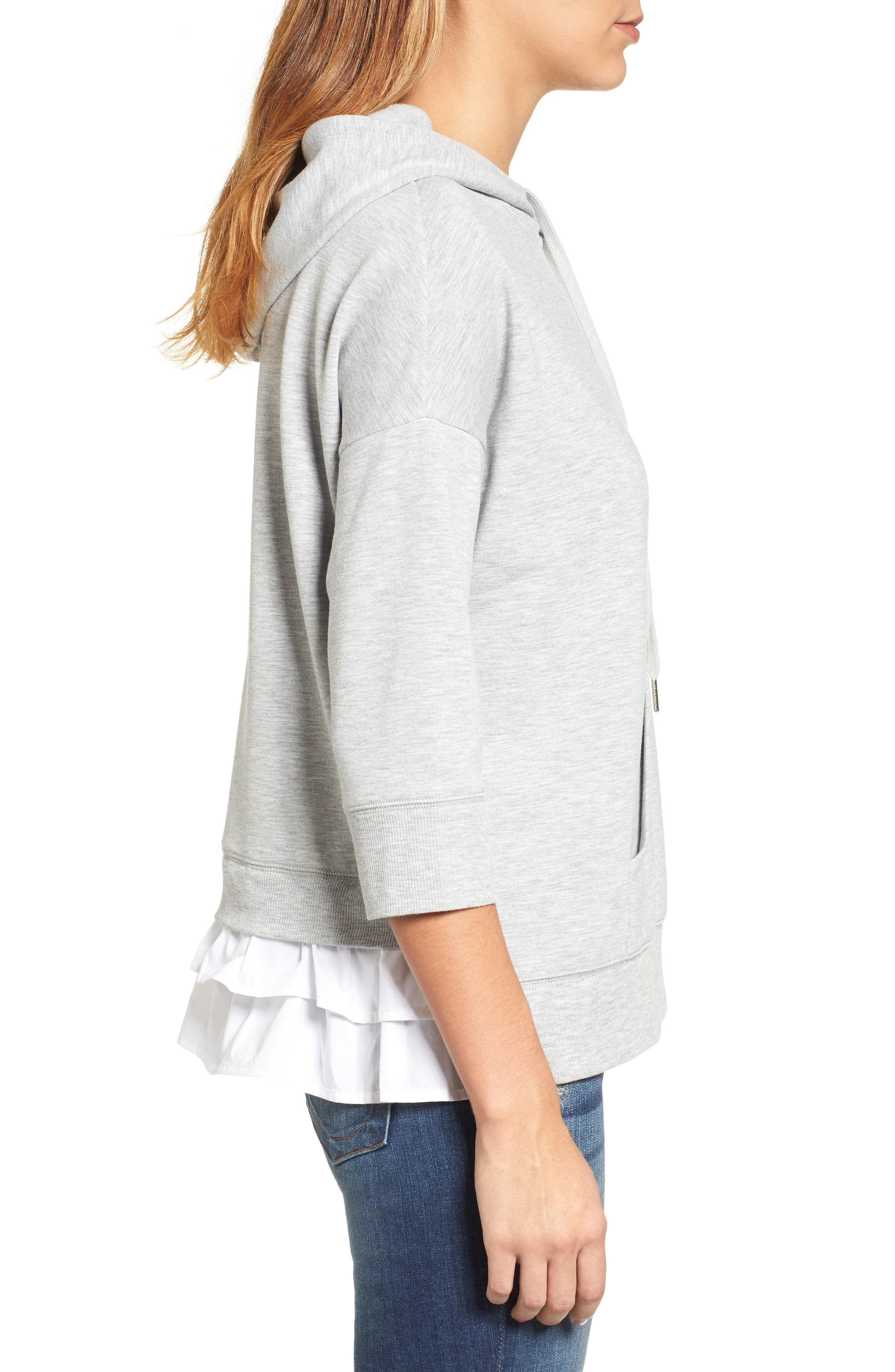 Woven Inset Knit Hoodie,                             Alternate thumbnail 3, color,                             Heather Grey