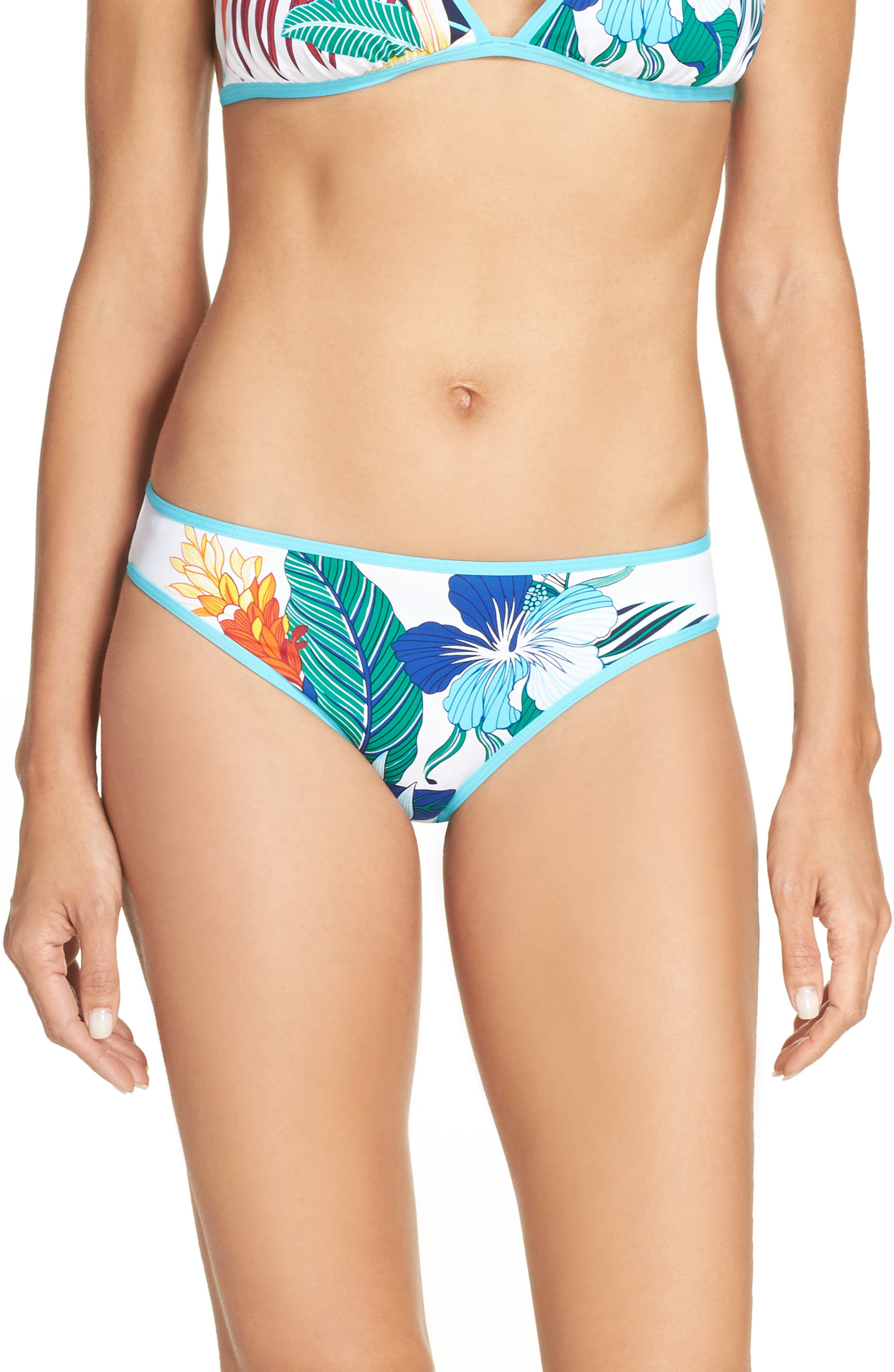 Hibiscus Print Bikini Bottoms,                         Main,                         color, White