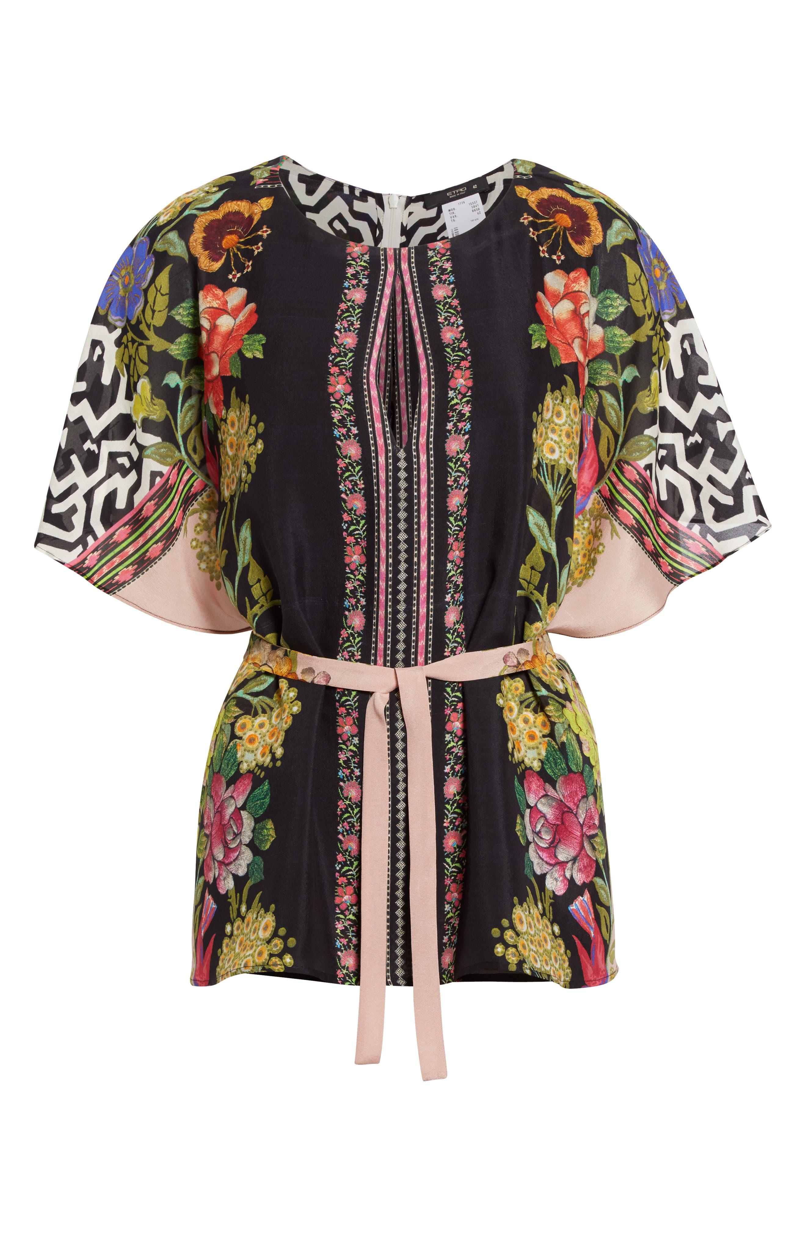 Floral & Maze Print Silk Blouse,                             Alternate thumbnail 4, color,                             Pink