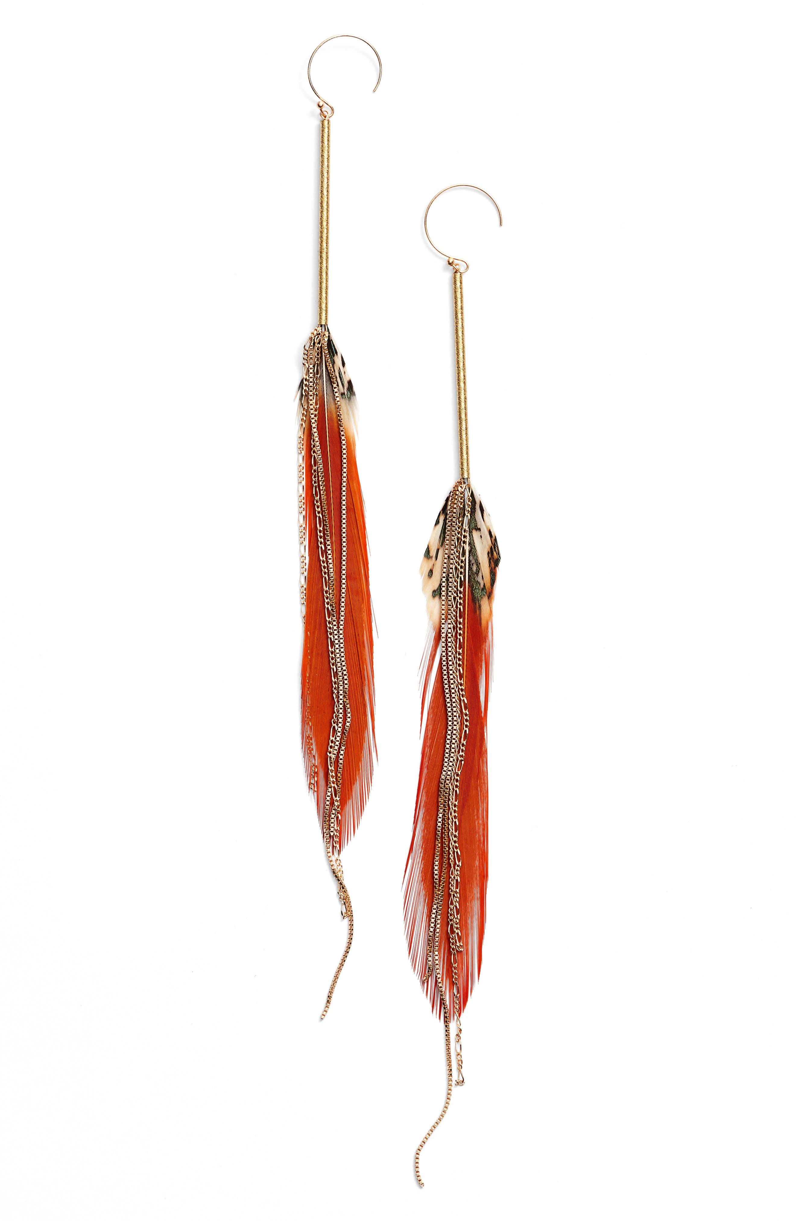 Red Feather Drop Earrings,                         Main,                         color, Red/ Gold