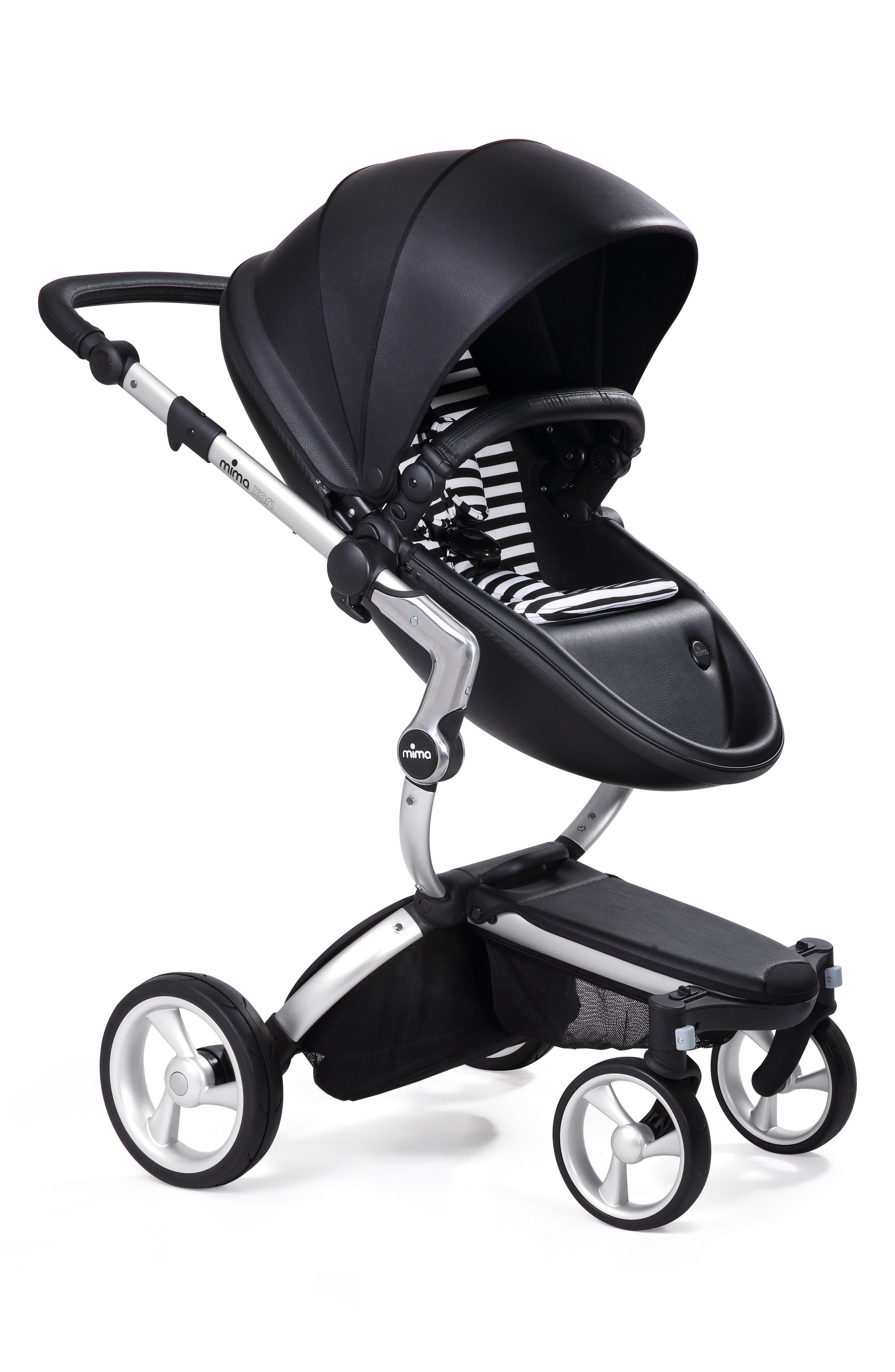 Xari Aluminum Chassis Stroller with Reversible Reclining Seat & Carrycot,                         Main,                         color, Black / Black And White