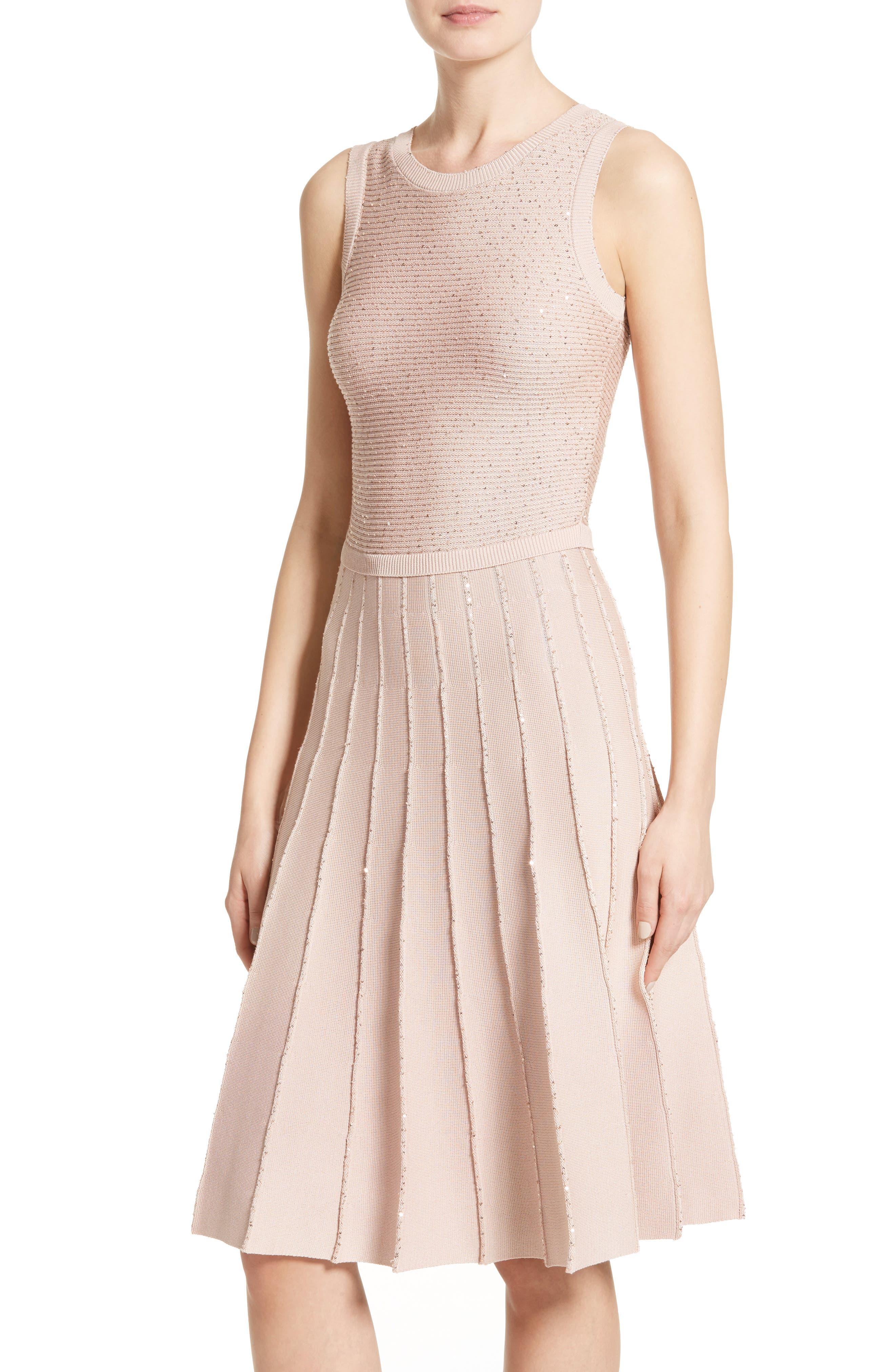 Alternate Image 6  - Oscar de la Renta Sparkle Knit Pleated Dress
