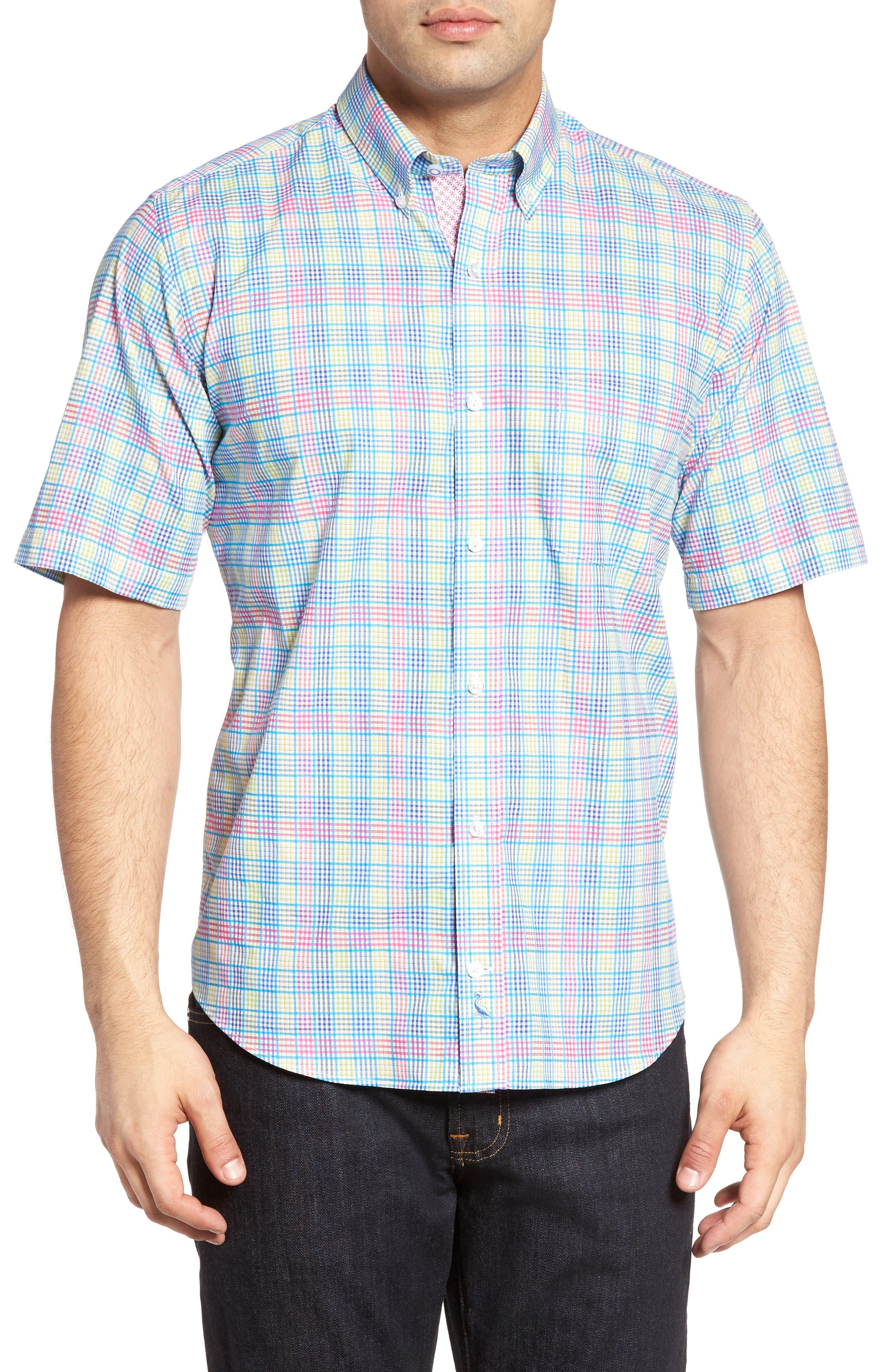 Lemon Plaid Sport Shirt,                             Main thumbnail 1, color,                             Blue/ Lime