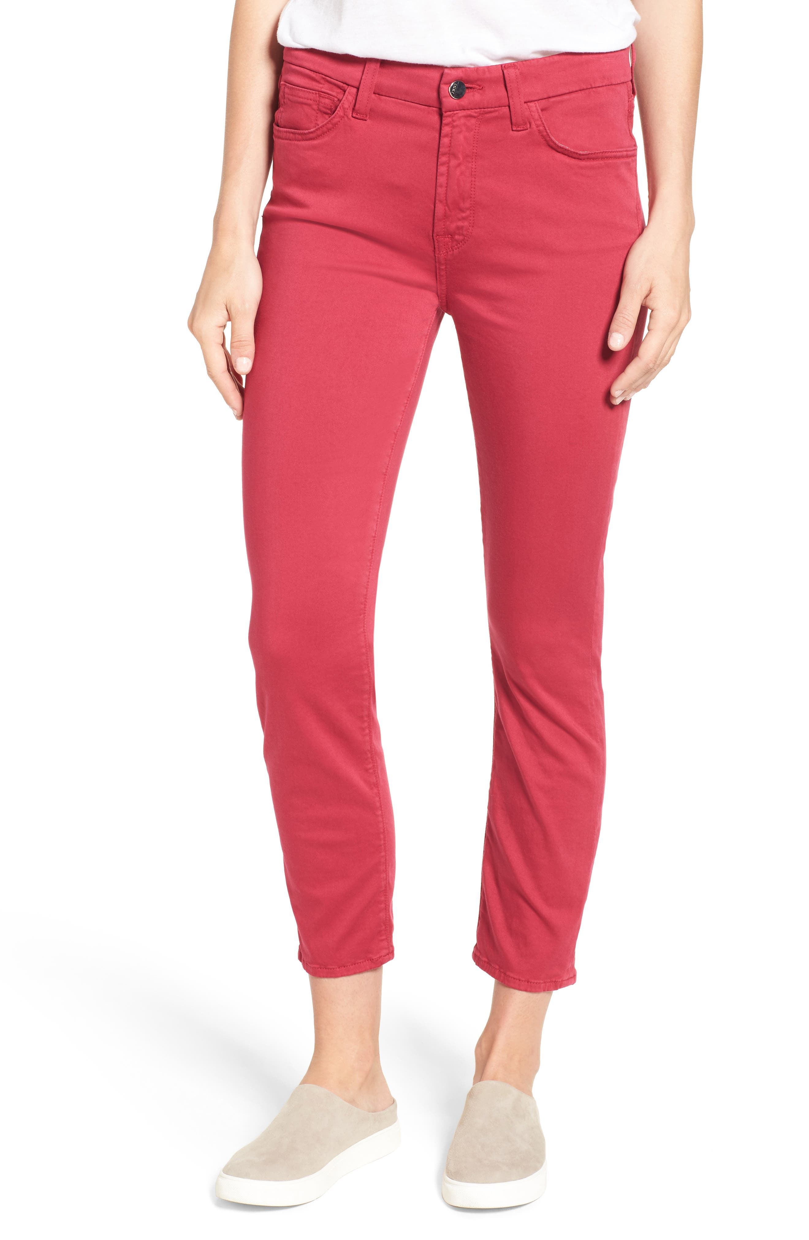 Crop Sateen Skinny Jeans,                         Main,                         color, Fuchsia Punch