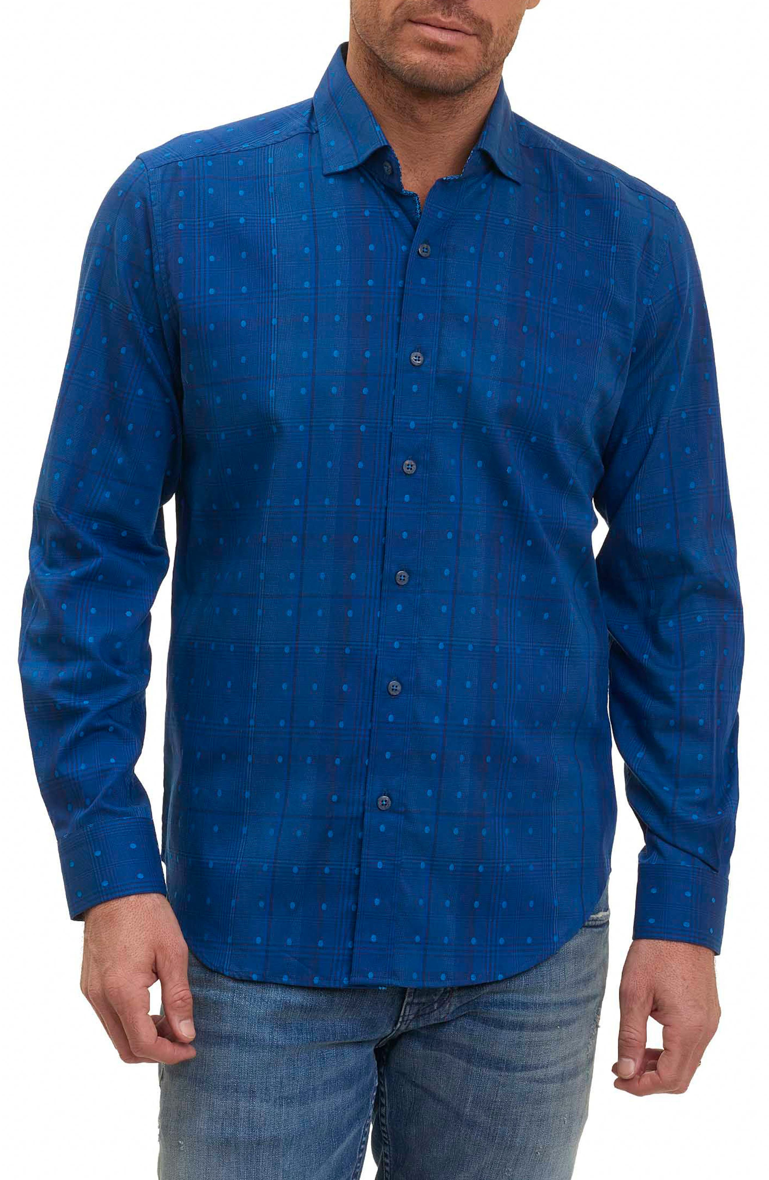 Pete Tailored Fit Print Sport Shirt,                         Main,                         color, Navy