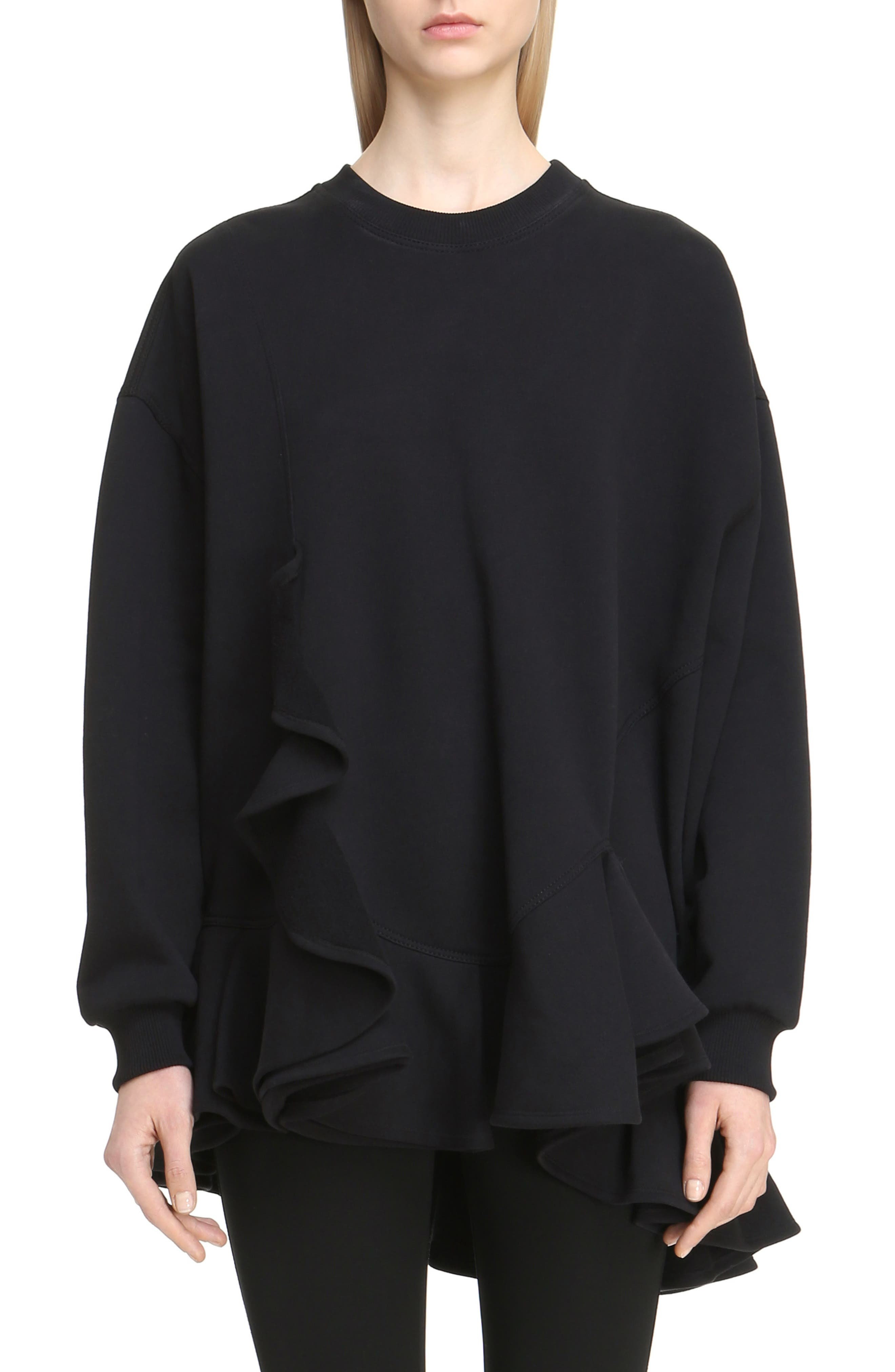 Ruffle Tunic Sweatshirt,                         Main,                         color, Black