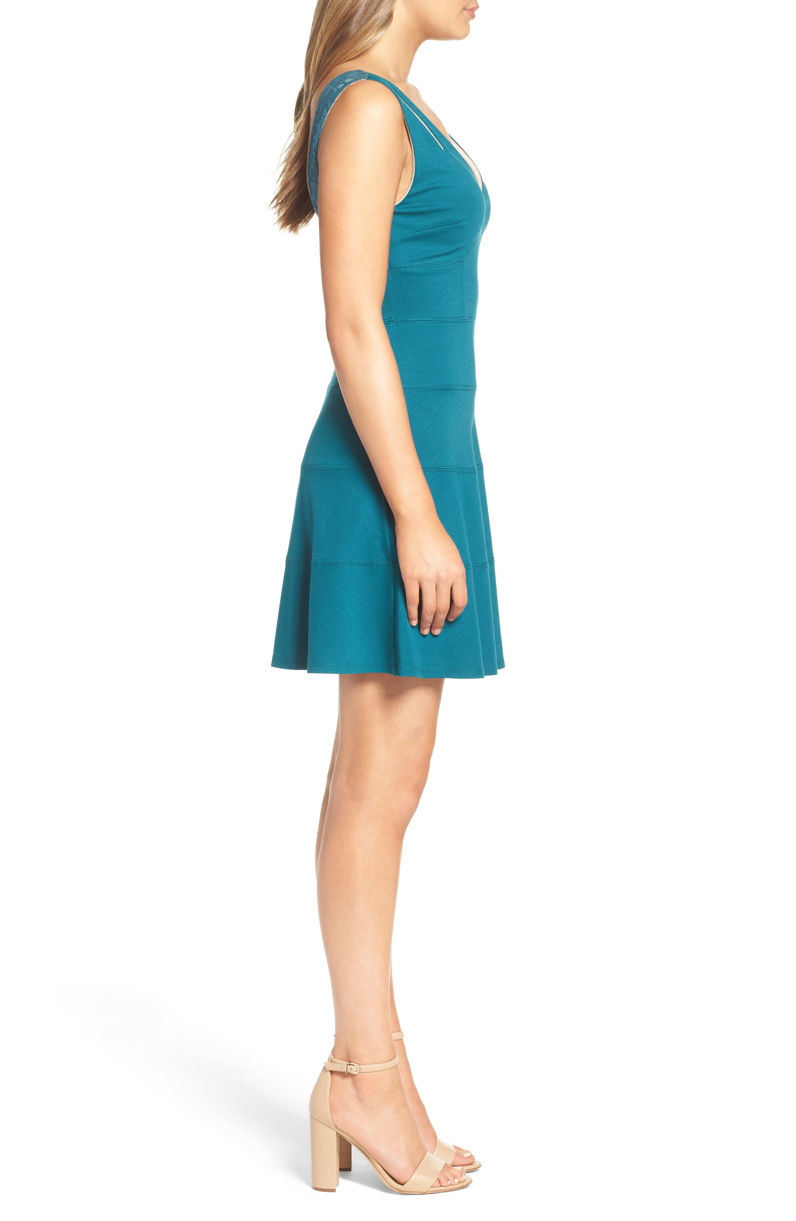 Te Quiero Fit & Flare Dress,                             Alternate thumbnail 4, color,                             Agave