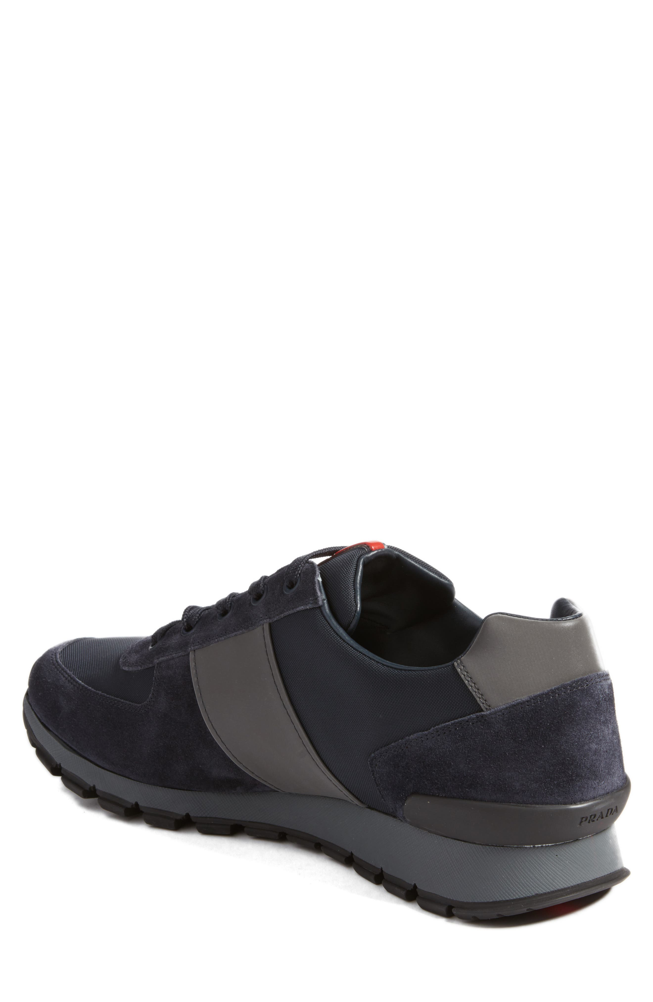 Prada Sneaker,                             Alternate thumbnail 2, color,                             Bleu Suede