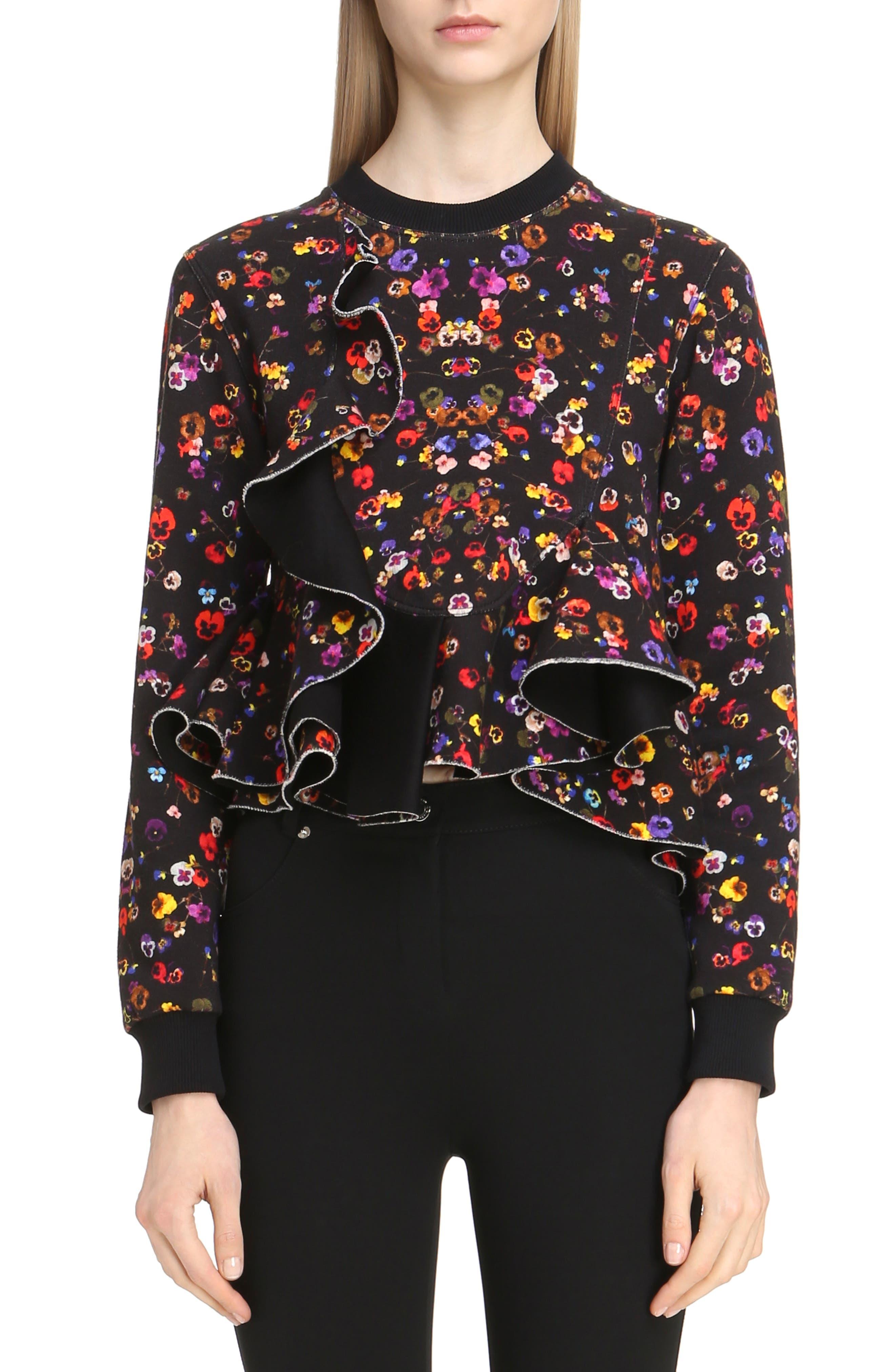 Floral Print Ruffle Bonded Sweatshirt,                         Main,                         color, Black