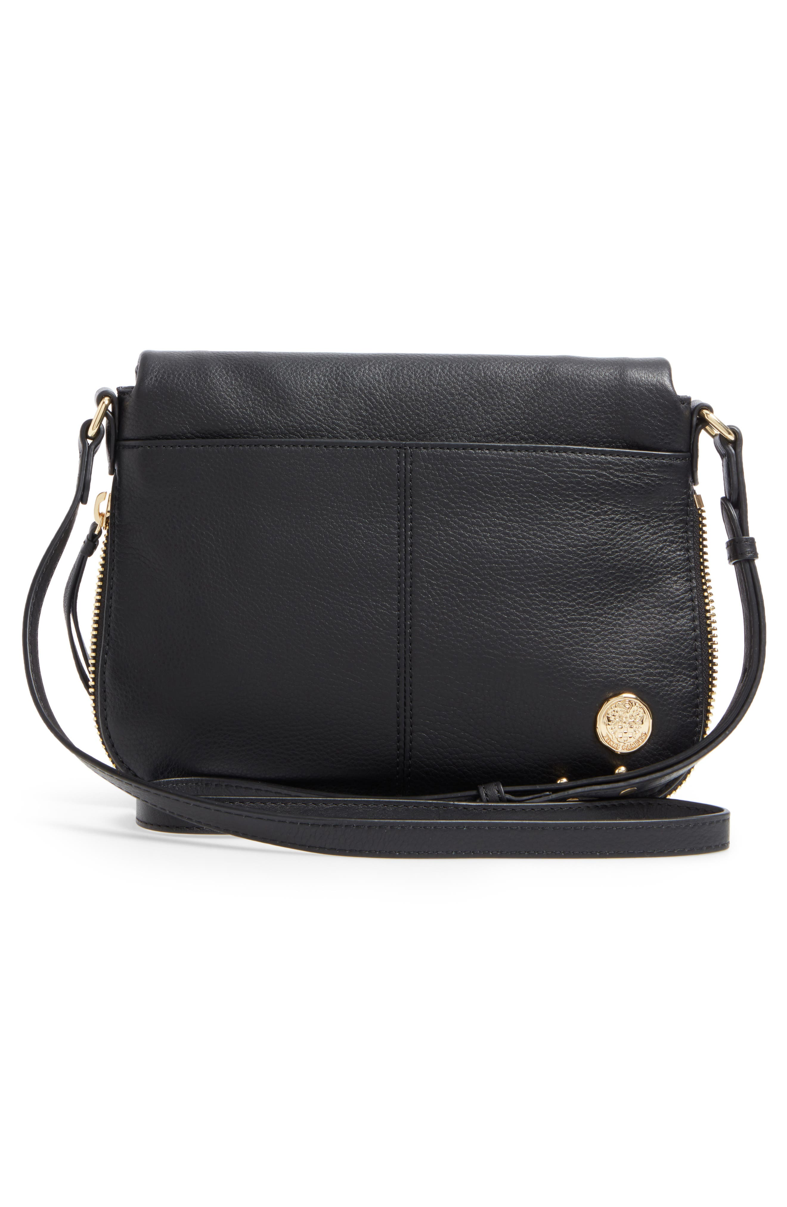 Dafni Leather Crossbody,                             Alternate thumbnail 3, color,                             Black