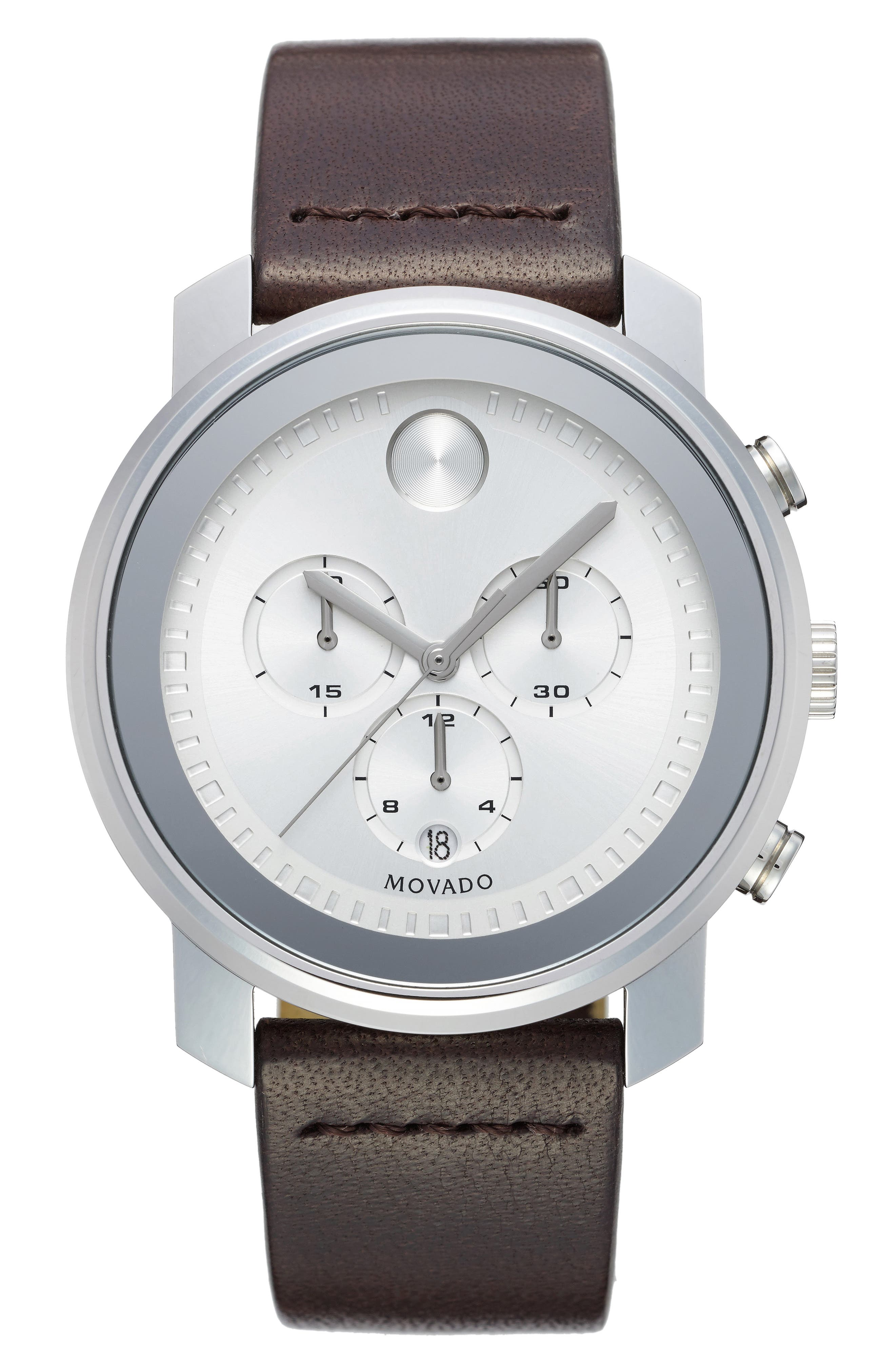 Movado Bold Chronograph Leather Strap Watch, 44mm