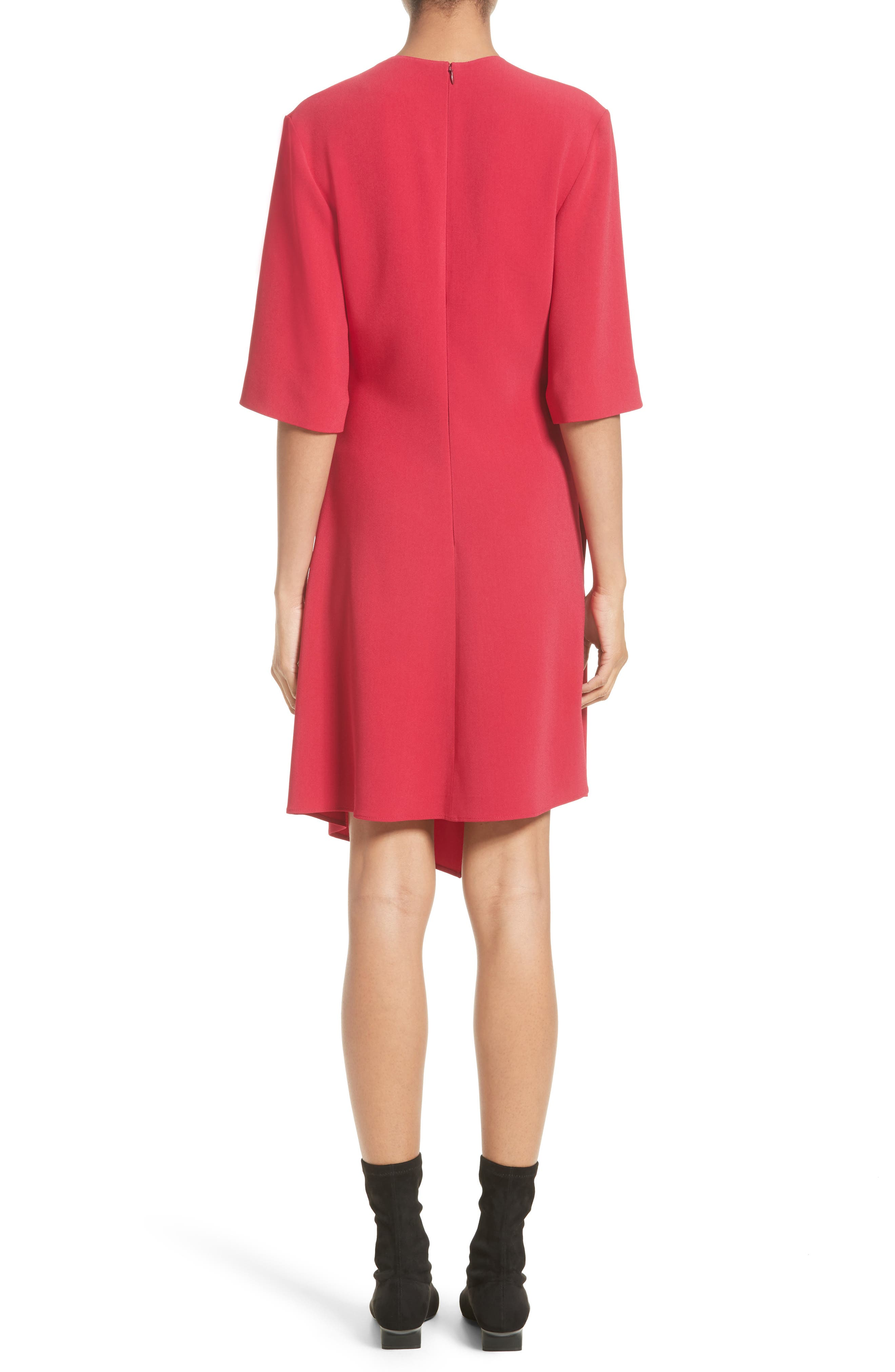 Draped Stretch Cady Dress,                             Alternate thumbnail 2, color,                             Hot Pink