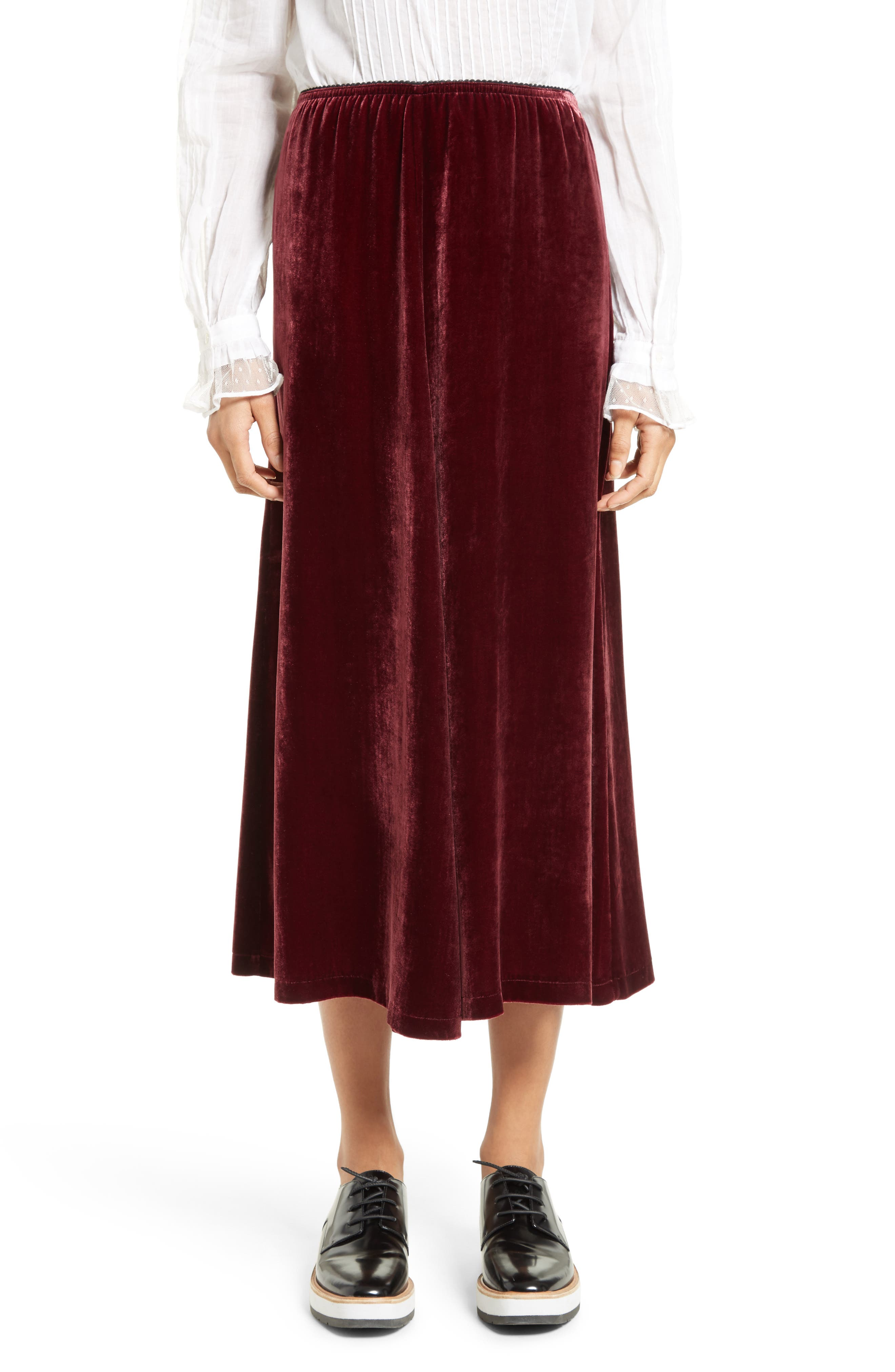 Velvet Midi Skirt,                             Main thumbnail 1, color,                             Wine