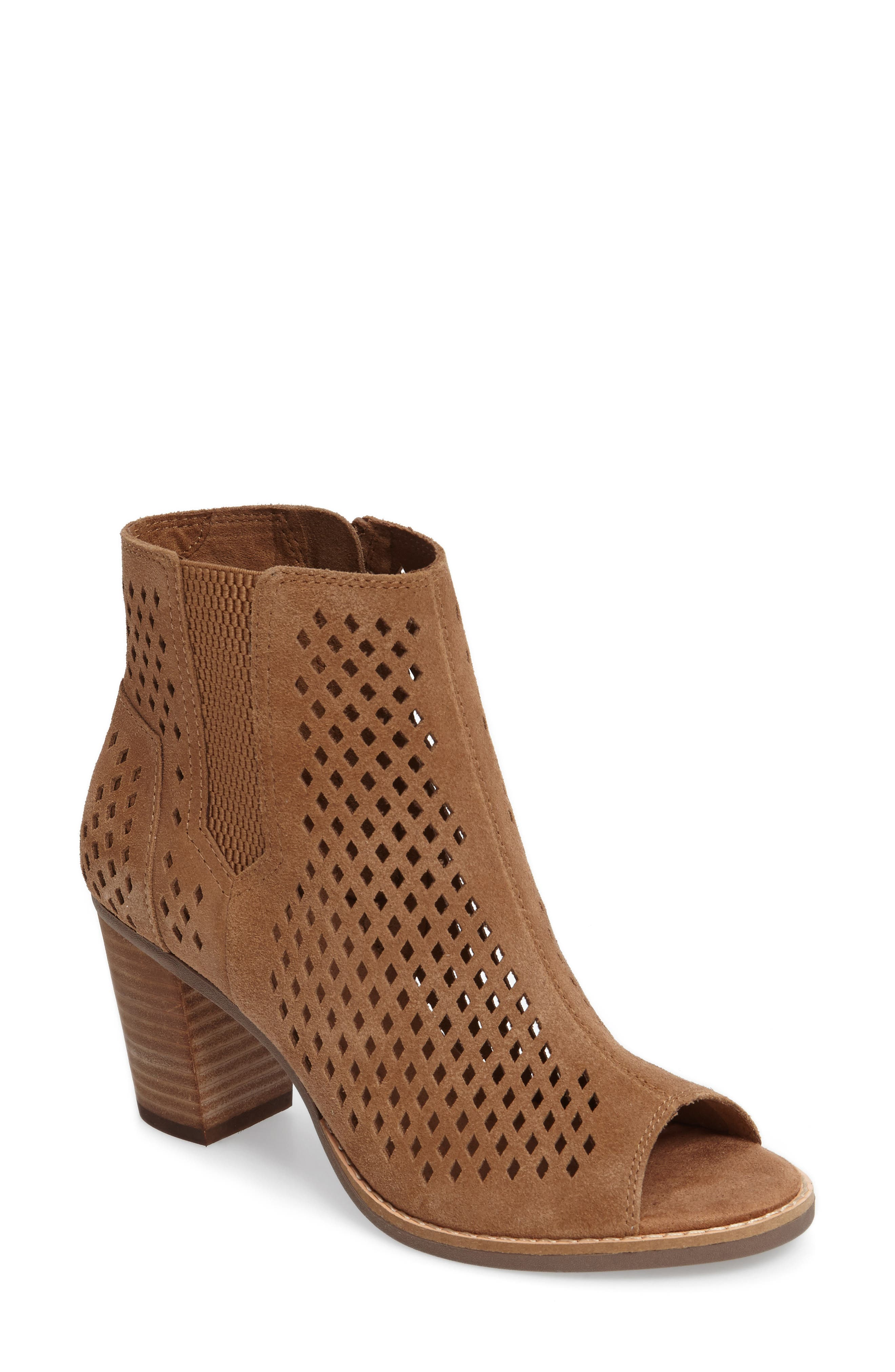 Majorca Peep Toe Bootie,                             Main thumbnail 1, color,                             Toffee Suede