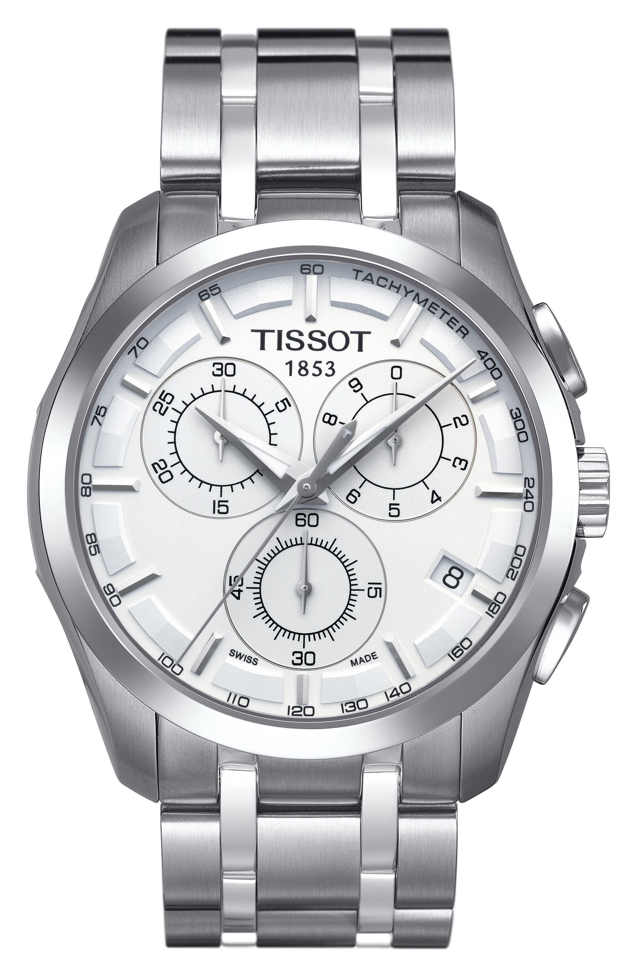 Couturier Chronograph Bracelet Watch, 41mm,                             Main thumbnail 1, color,                             Silver/ White/ Silver