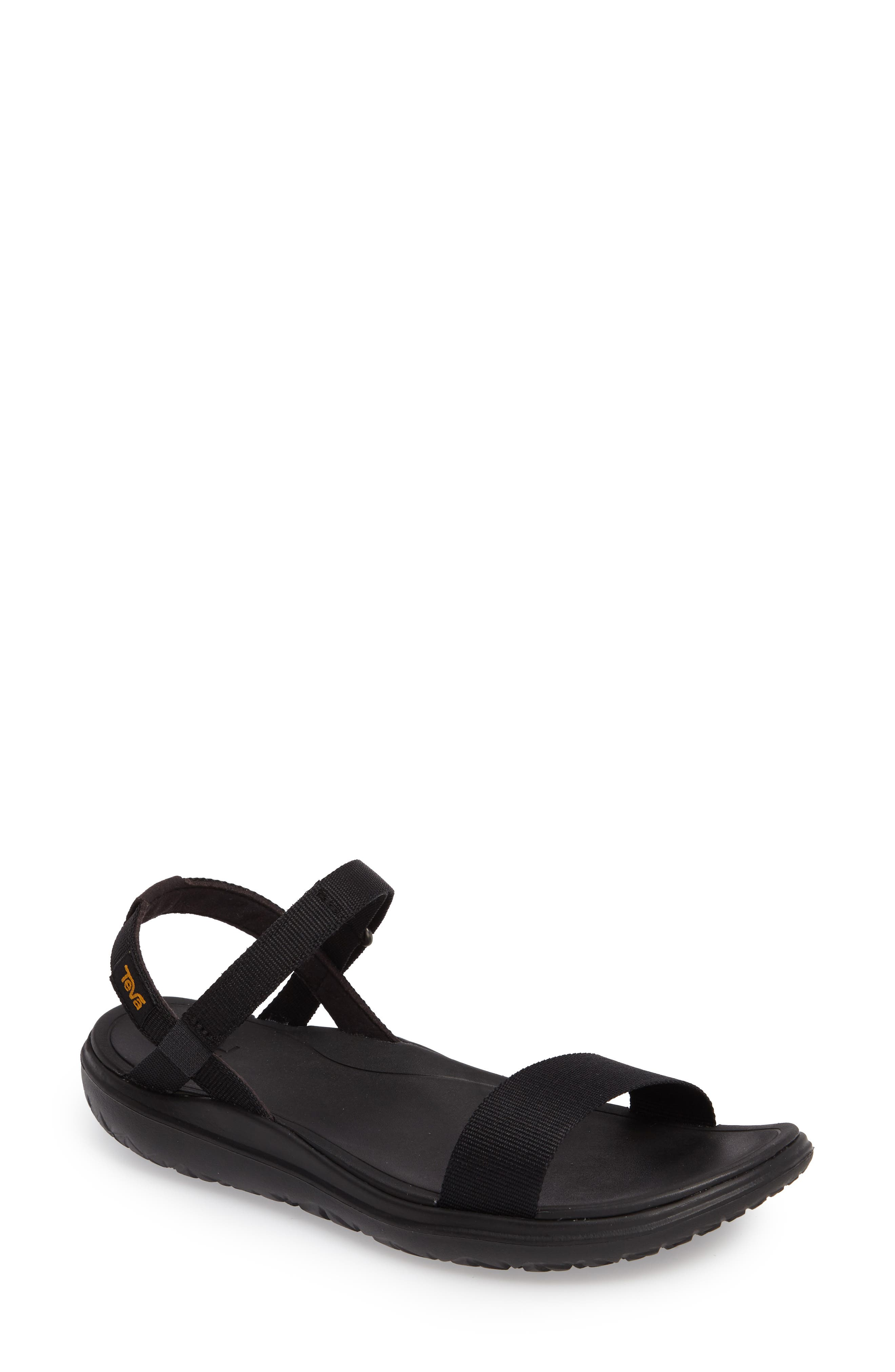 Terra Float Nova Sandal,                             Main thumbnail 1, color,                             Black Fabric