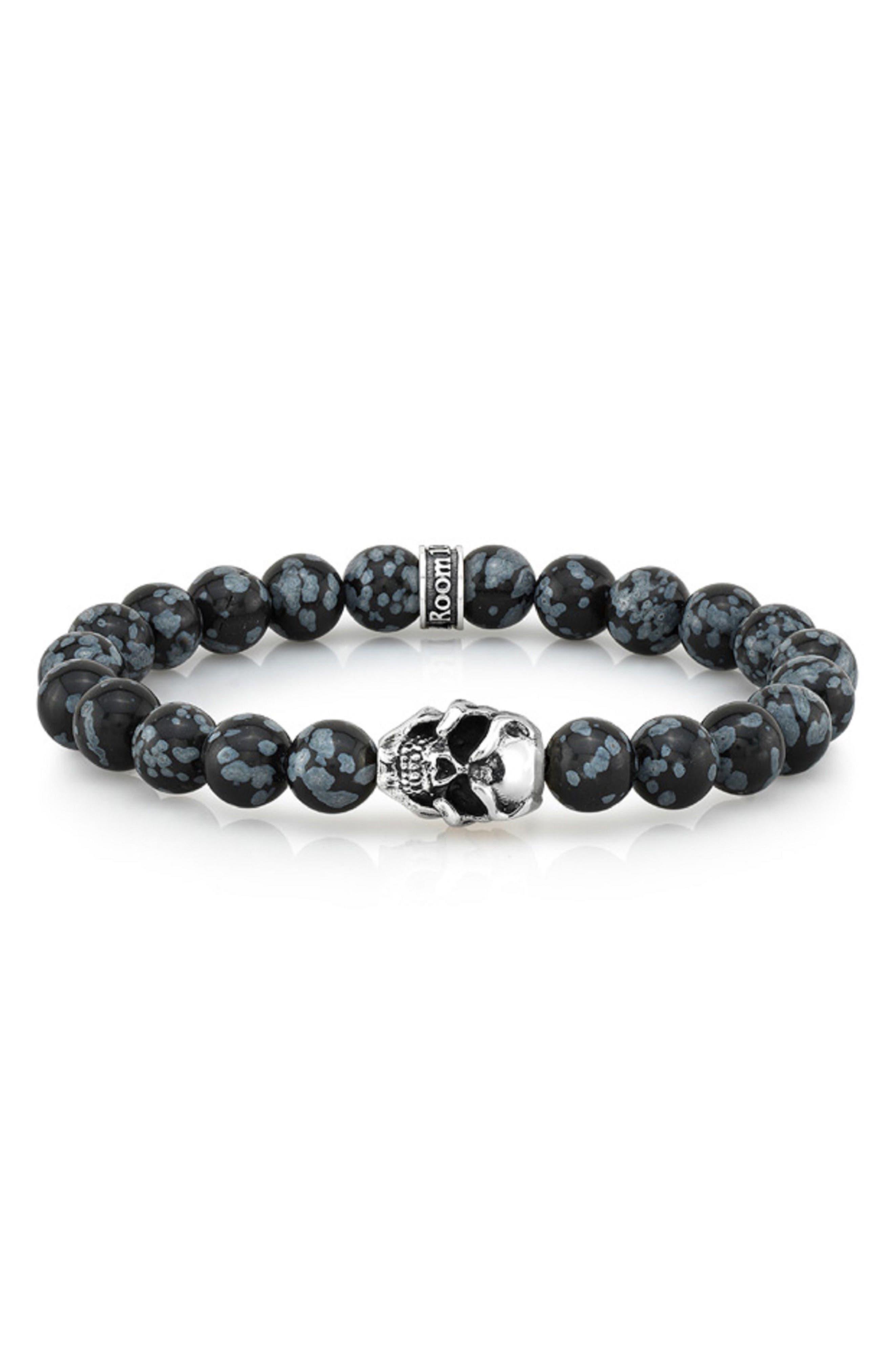 Room 101 Snowflake Agate Bead Bracelet,                         Main,                         color, Black