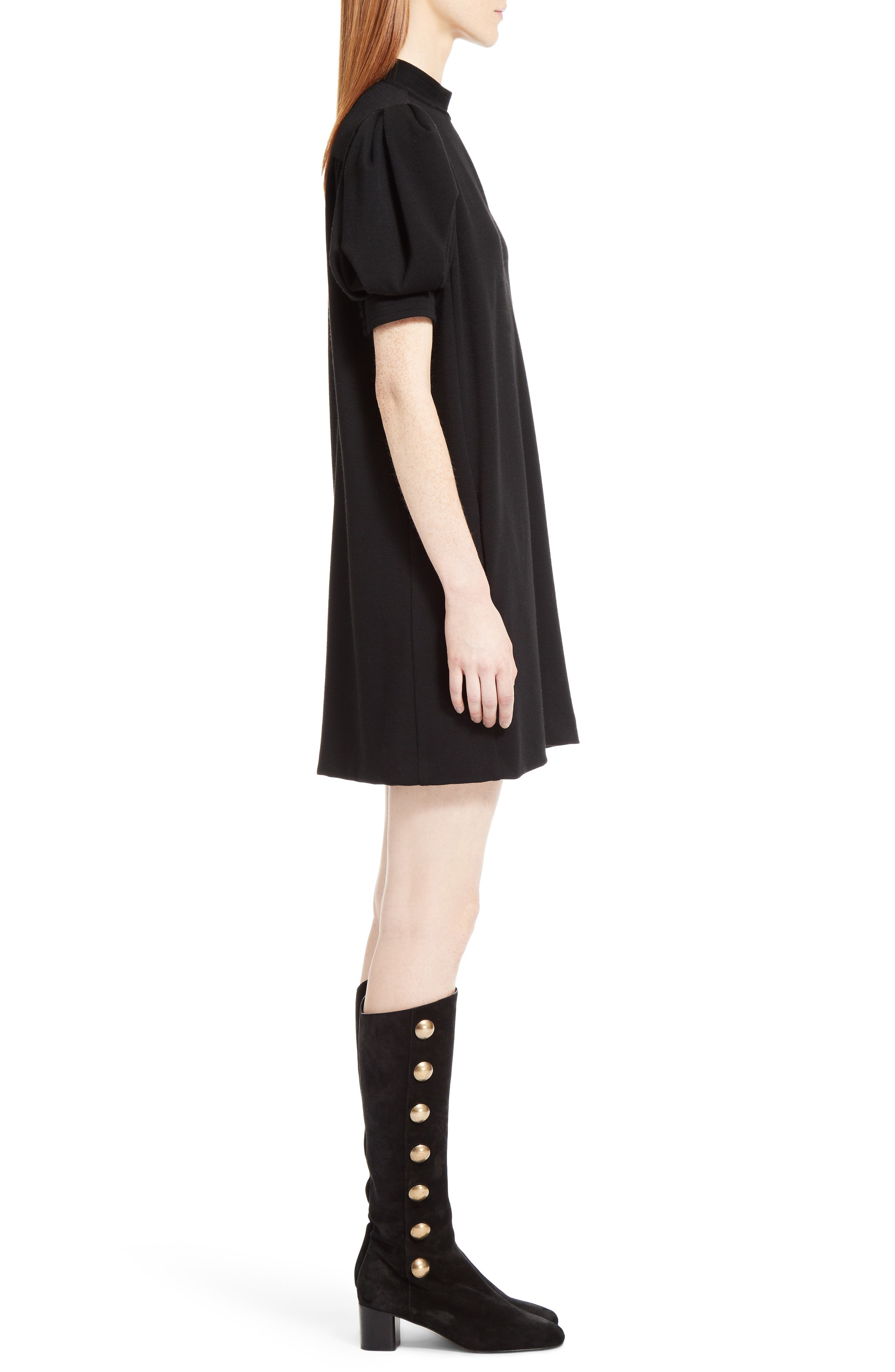 Wool Jersey Dress,                             Alternate thumbnail 4, color,                             Black