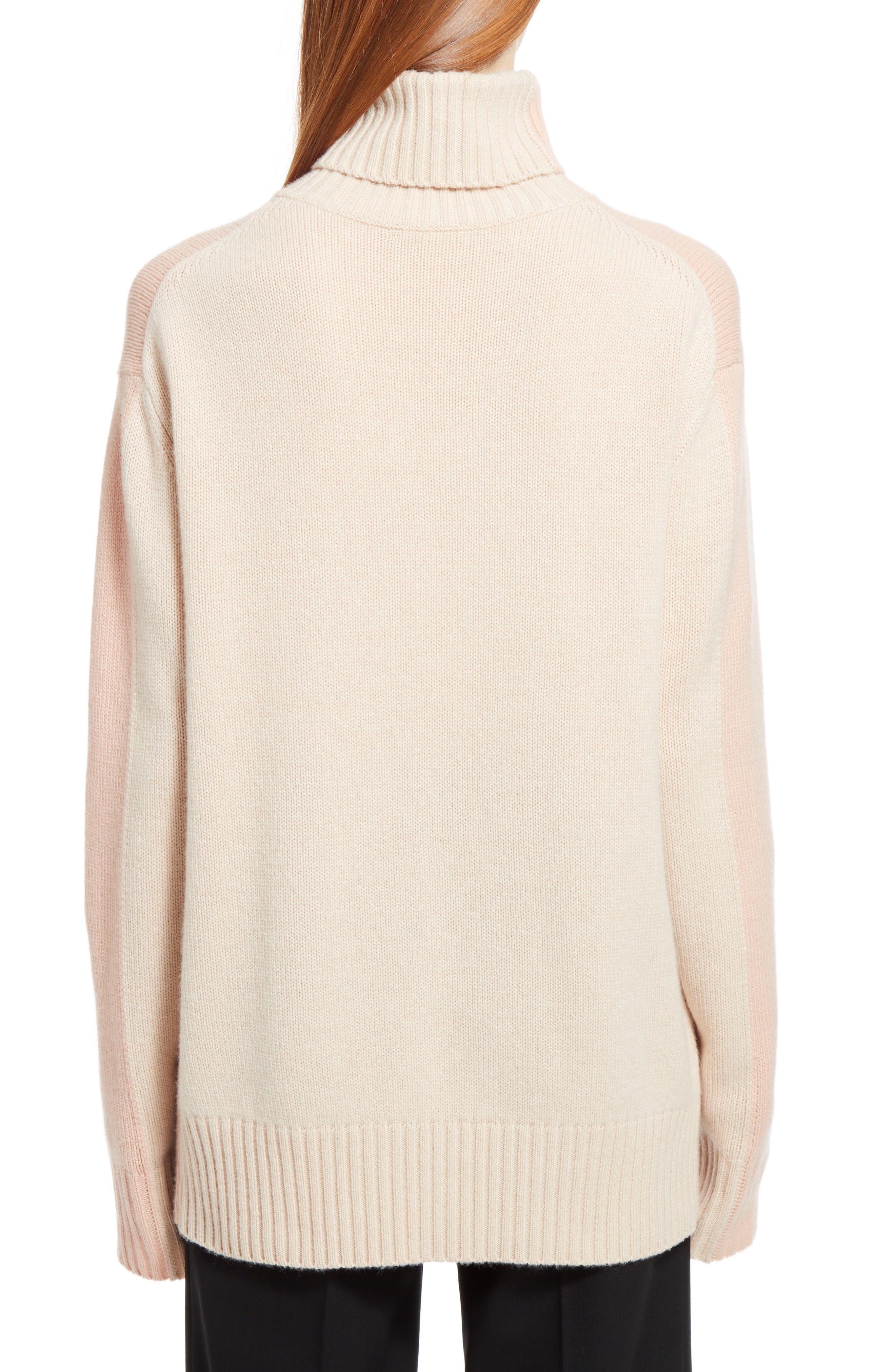 Colorblock Cashmere Turtleneck Sweater,                             Alternate thumbnail 2, color,                             Pink/ Beige