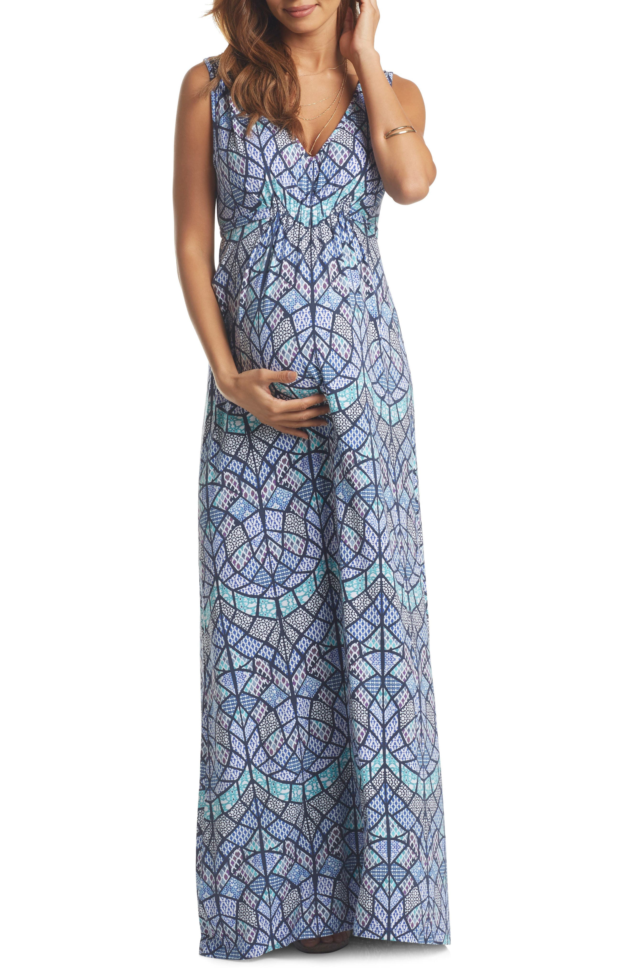'Grecia' Print Jersey Maternity Maxi Dress,                             Main thumbnail 1, color,                             Tile Mosaic