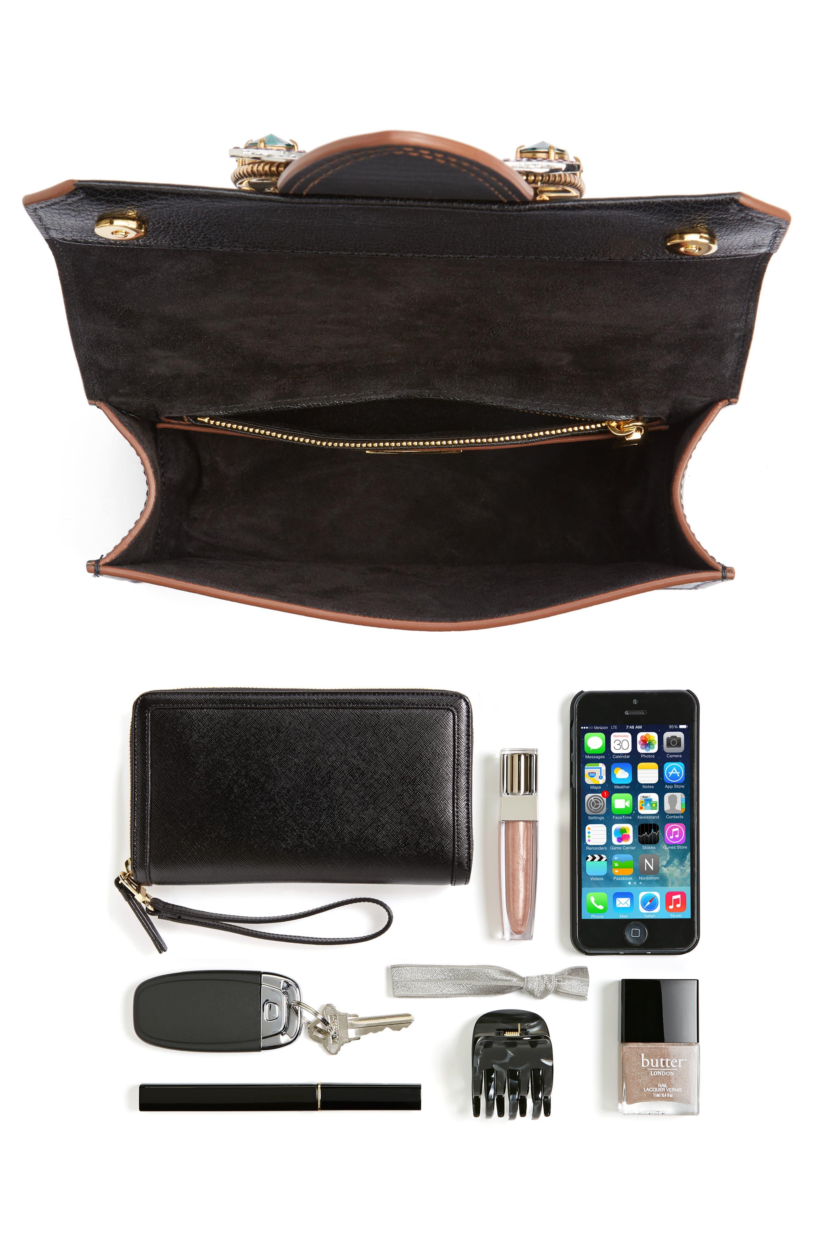 Madras Crystal Embellished Leather Shoulder Bag,                             Alternate thumbnail 7, color,