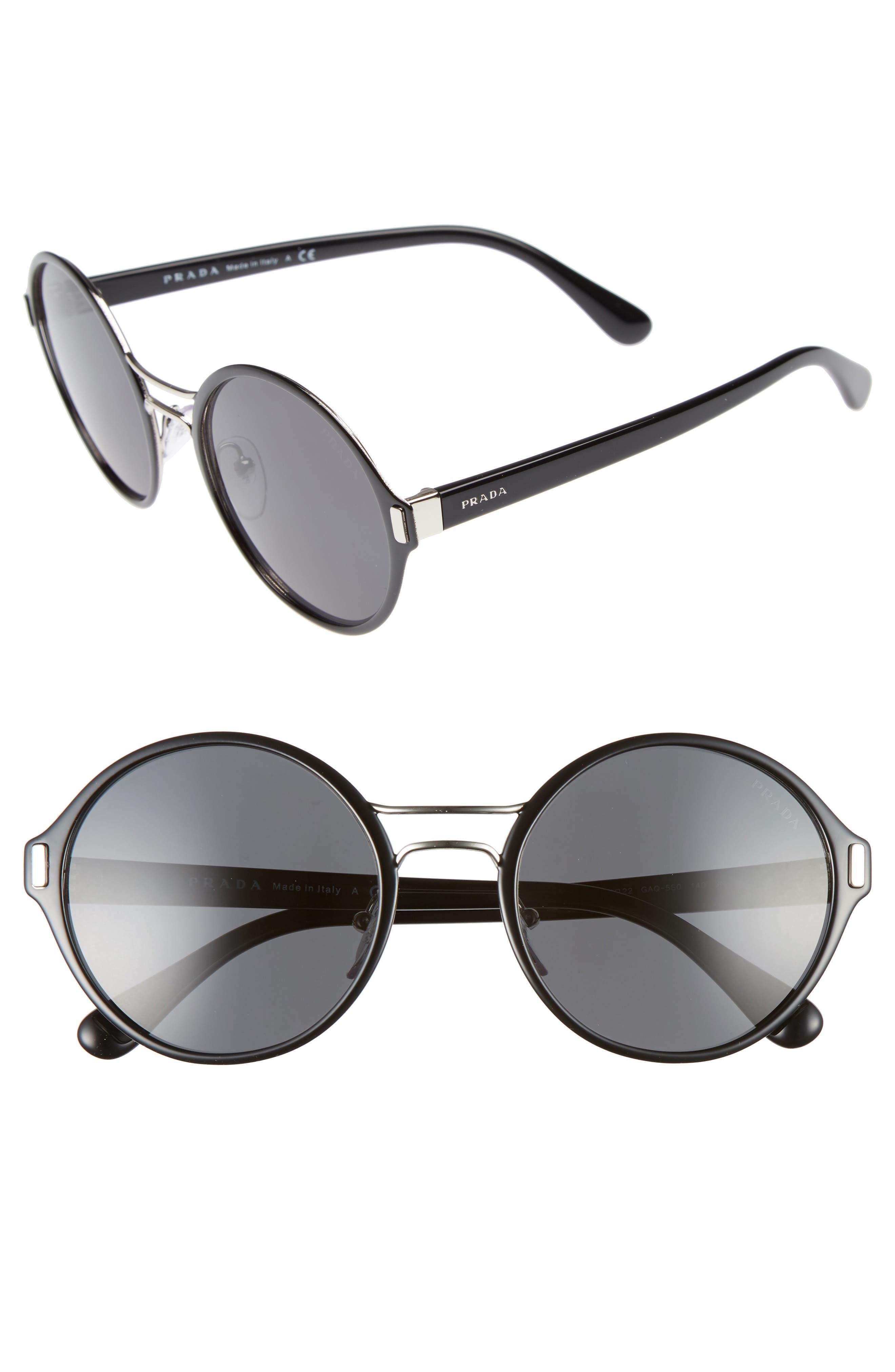 54mm Round Sunglasses,                             Main thumbnail 1, color,                             Black