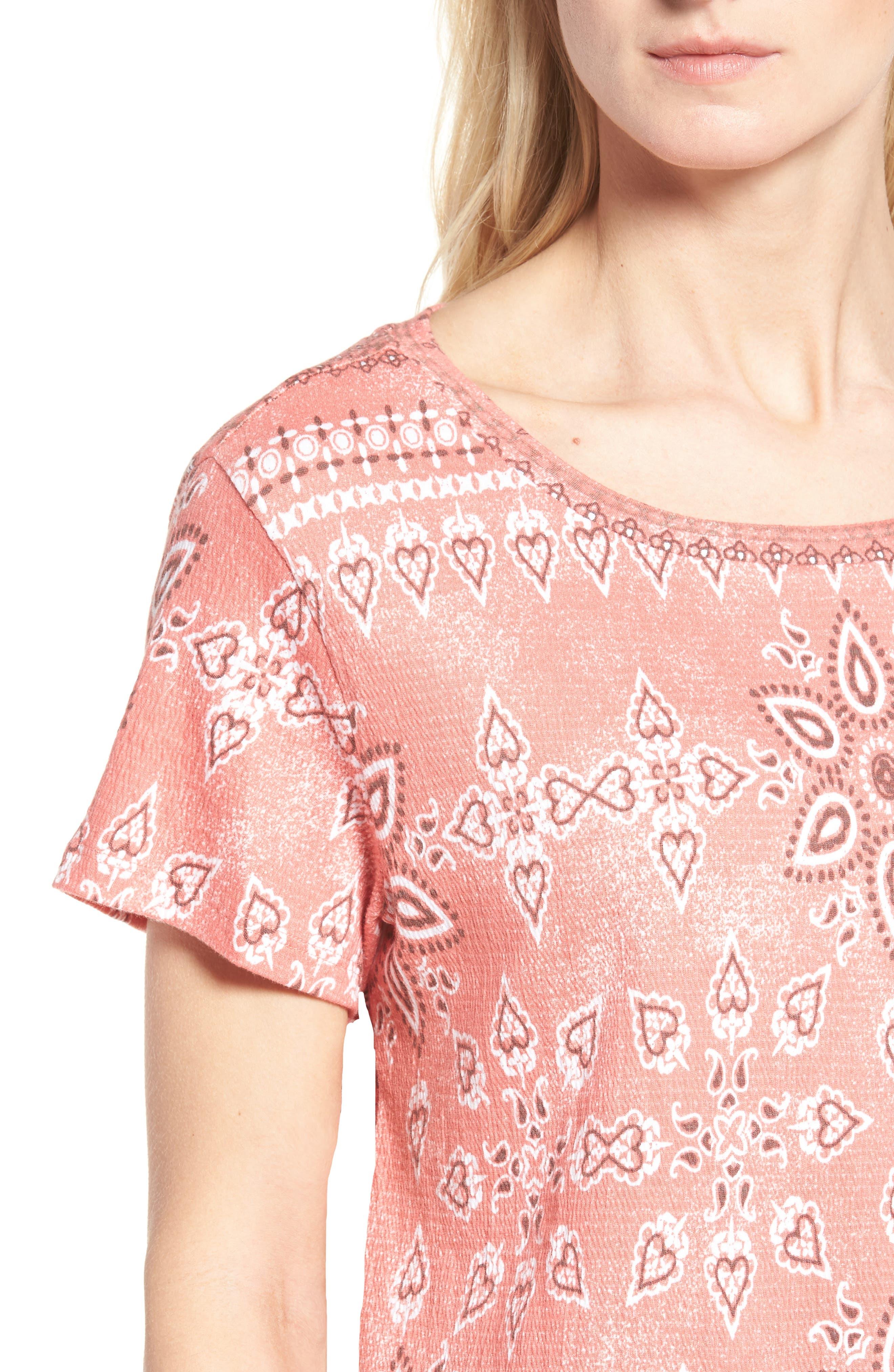 Alternate Image 4  - Caslon® Print Crinkle Cotton Blend Top (Regular & Petite)