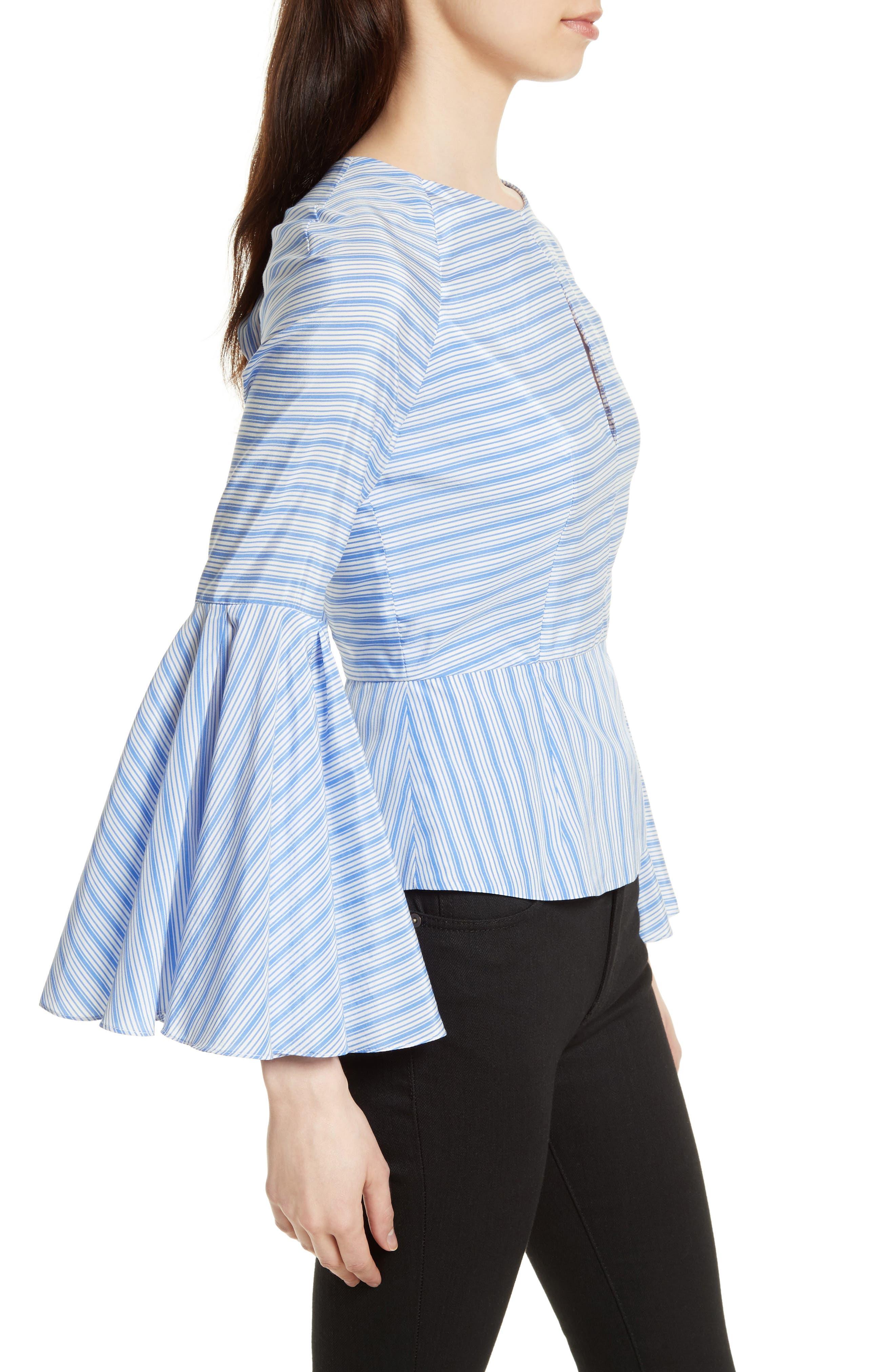 Alternate Image 3  - Milly Tie Back Stripe Peplum Top