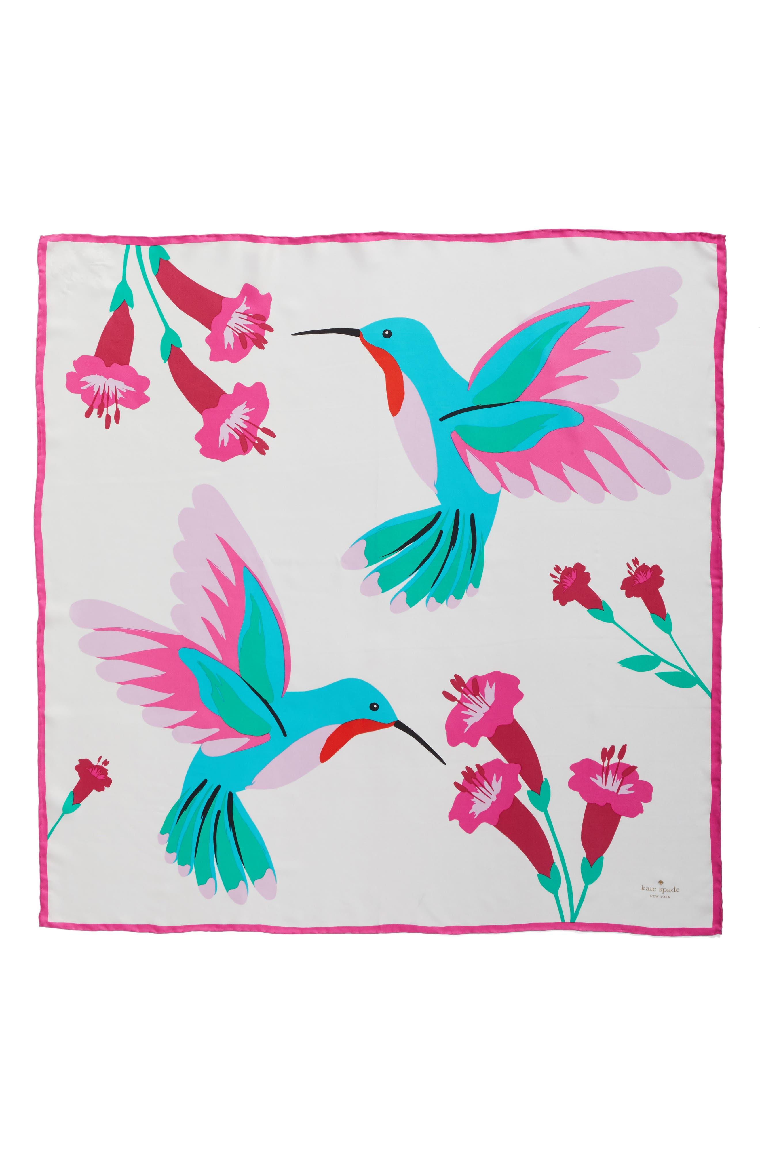 Alternate Image 2  - kate spade new york hummingbird silk square scarf