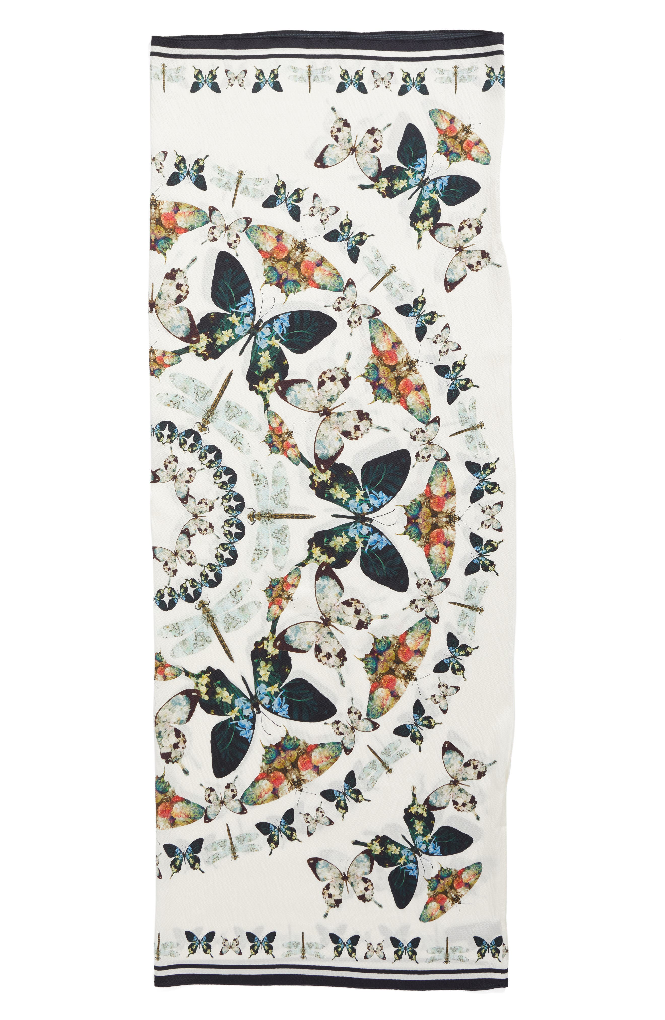 Butterfly Kaleidoscope Silk Cape Scarf,                             Alternate thumbnail 5, color,                             White