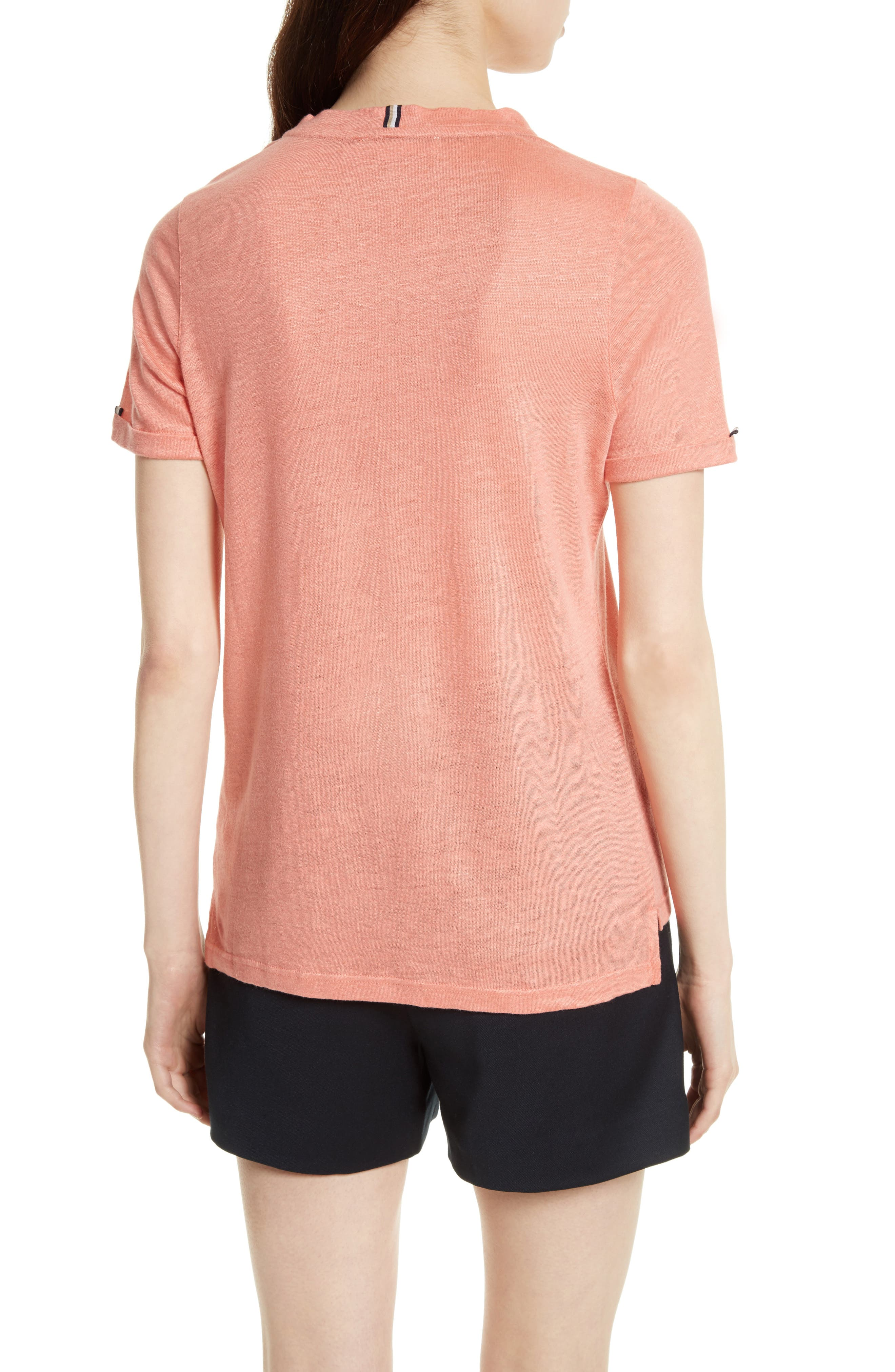 Harlaa Square Cut Linen Tee,                             Alternate thumbnail 2, color,                             Coral