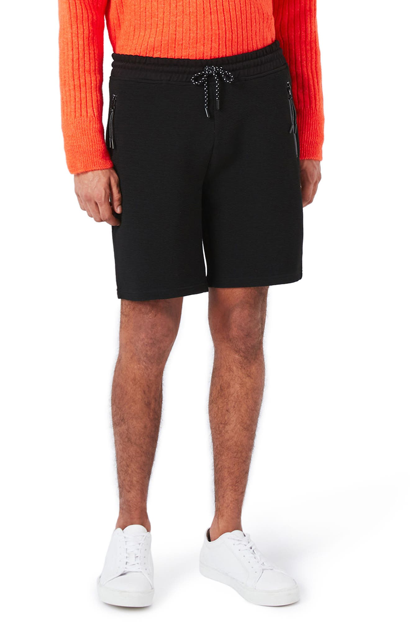 Textured Jersey Shorts,                             Main thumbnail 1, color,                             Black