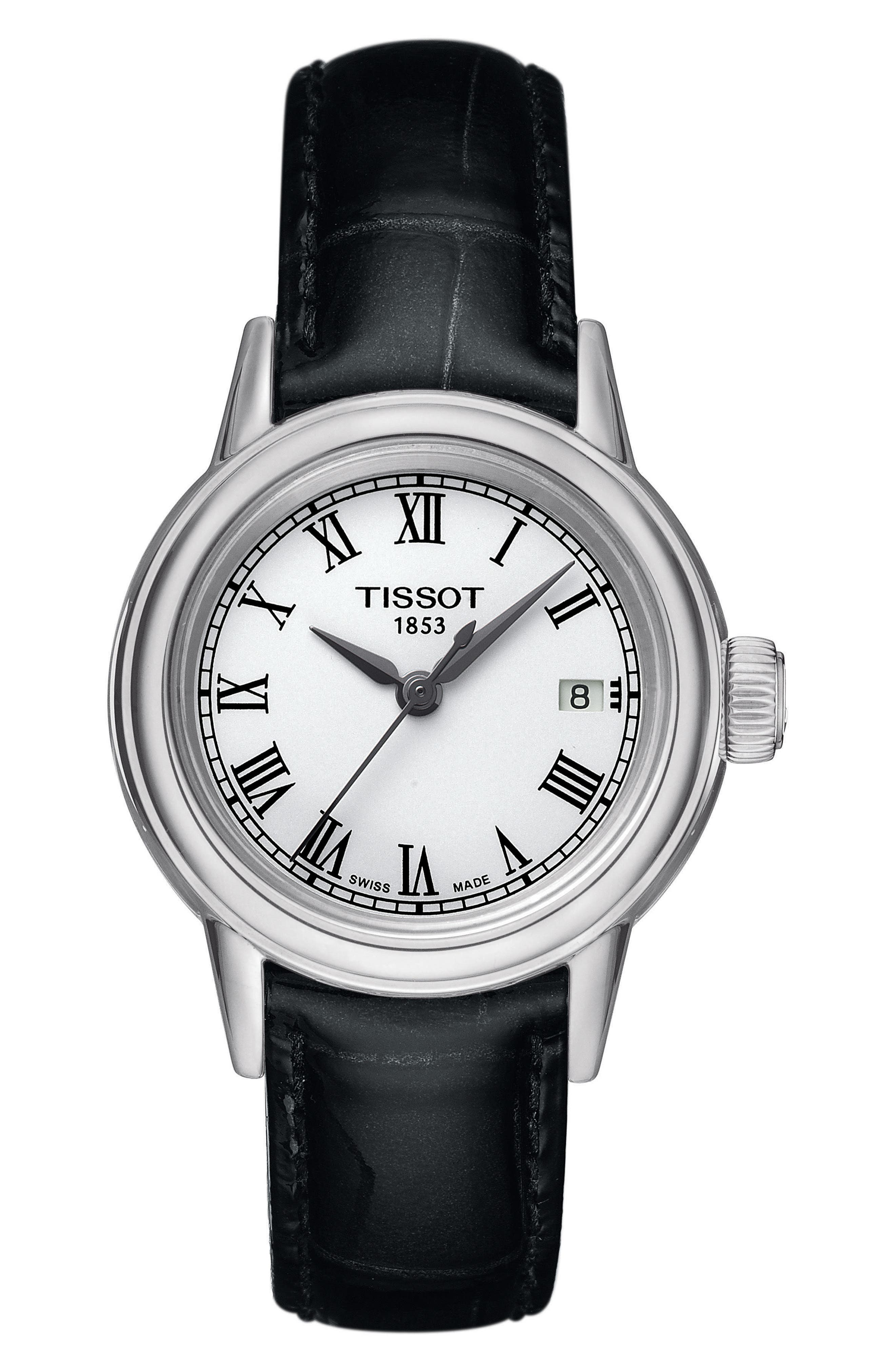 Carson Leather Strap Watch, 28mm,                         Main,                         color, Black/ White/ Silver