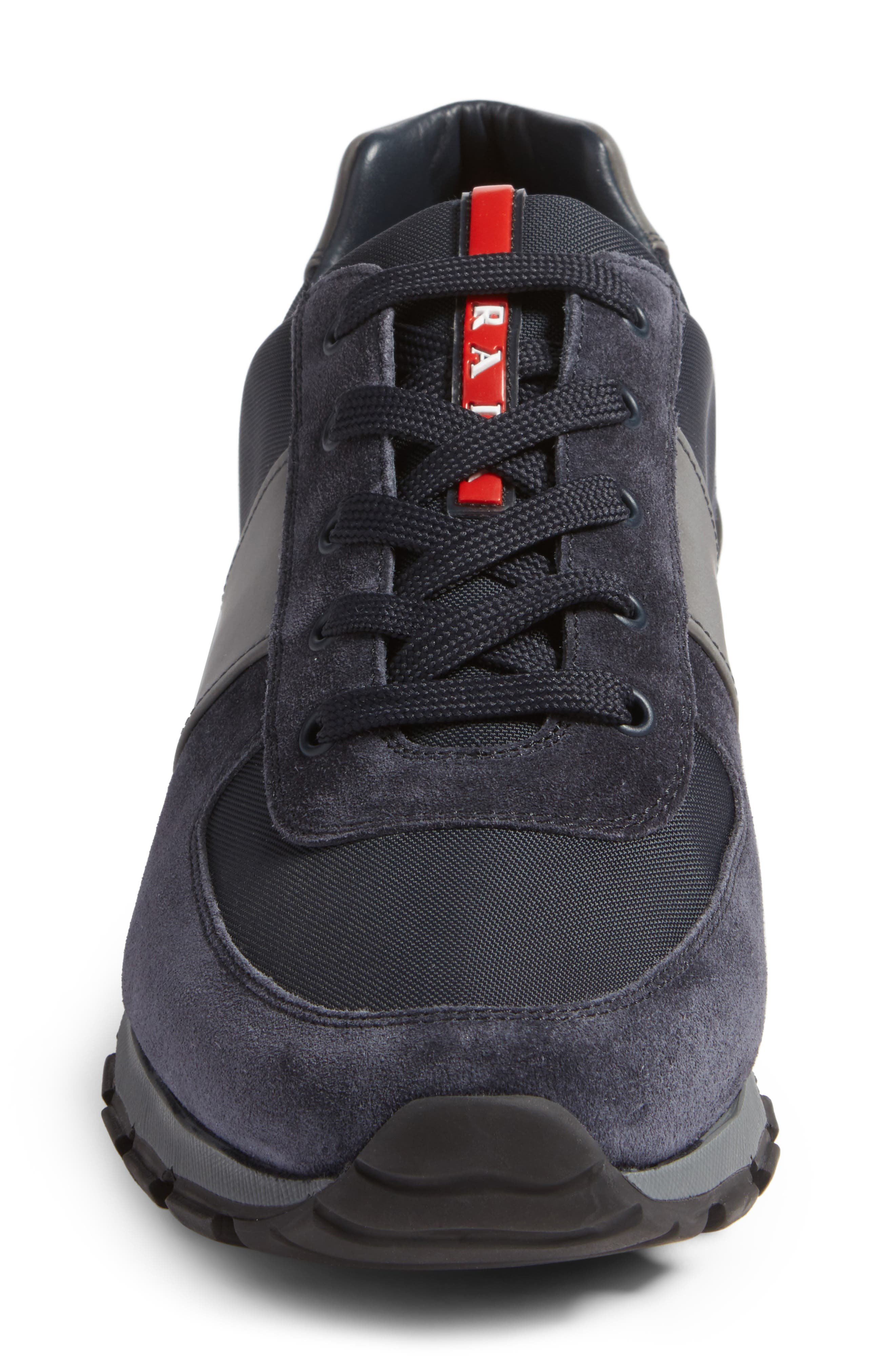 Prada Sneaker,                             Alternate thumbnail 4, color,                             Bleu Suede