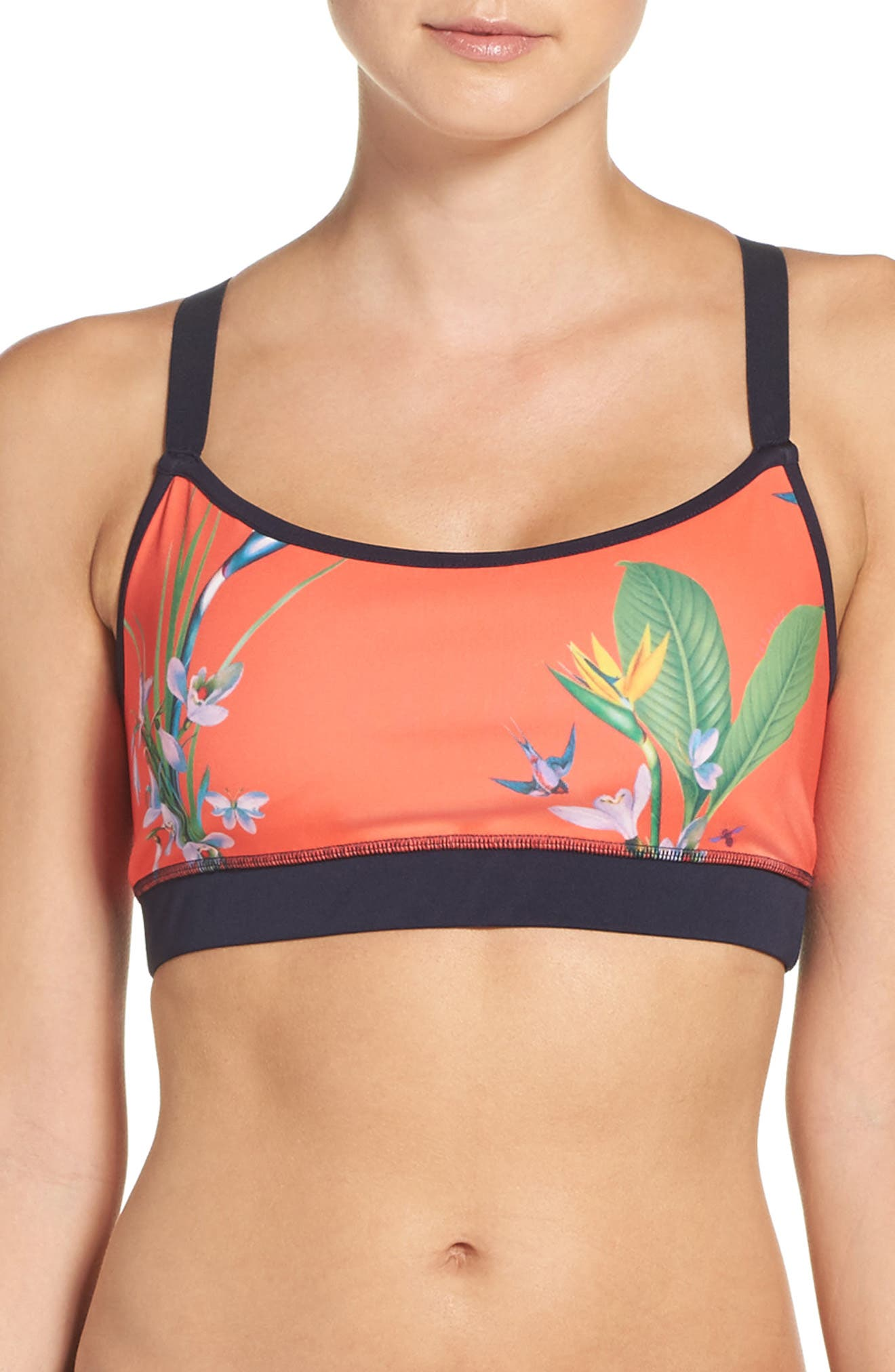 Tropical Oasis Sports Bra,                         Main,                         color, Mid Red