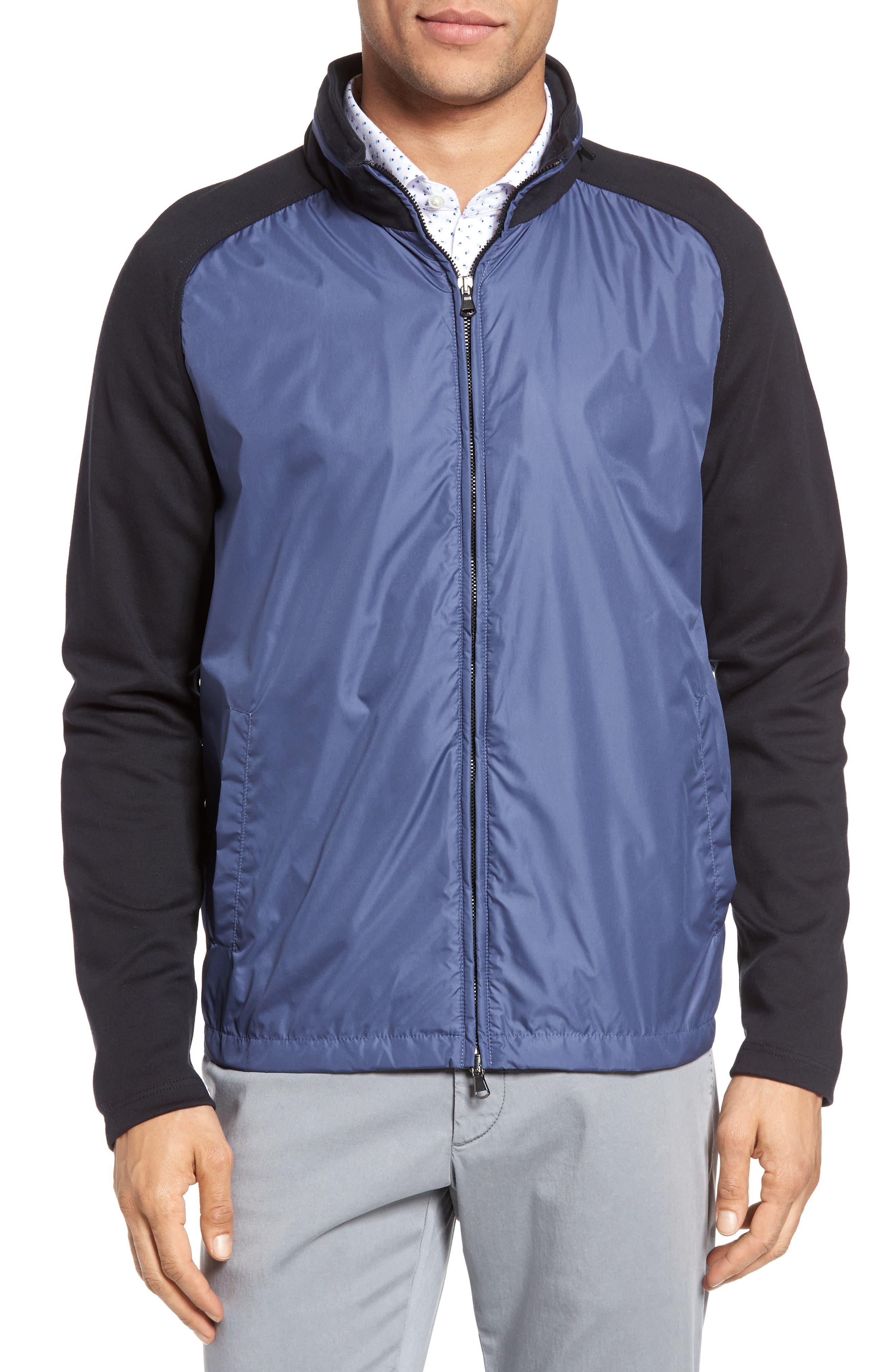 Syconium Mixed Media Zip Front Jacket,                         Main,                         color, Blue