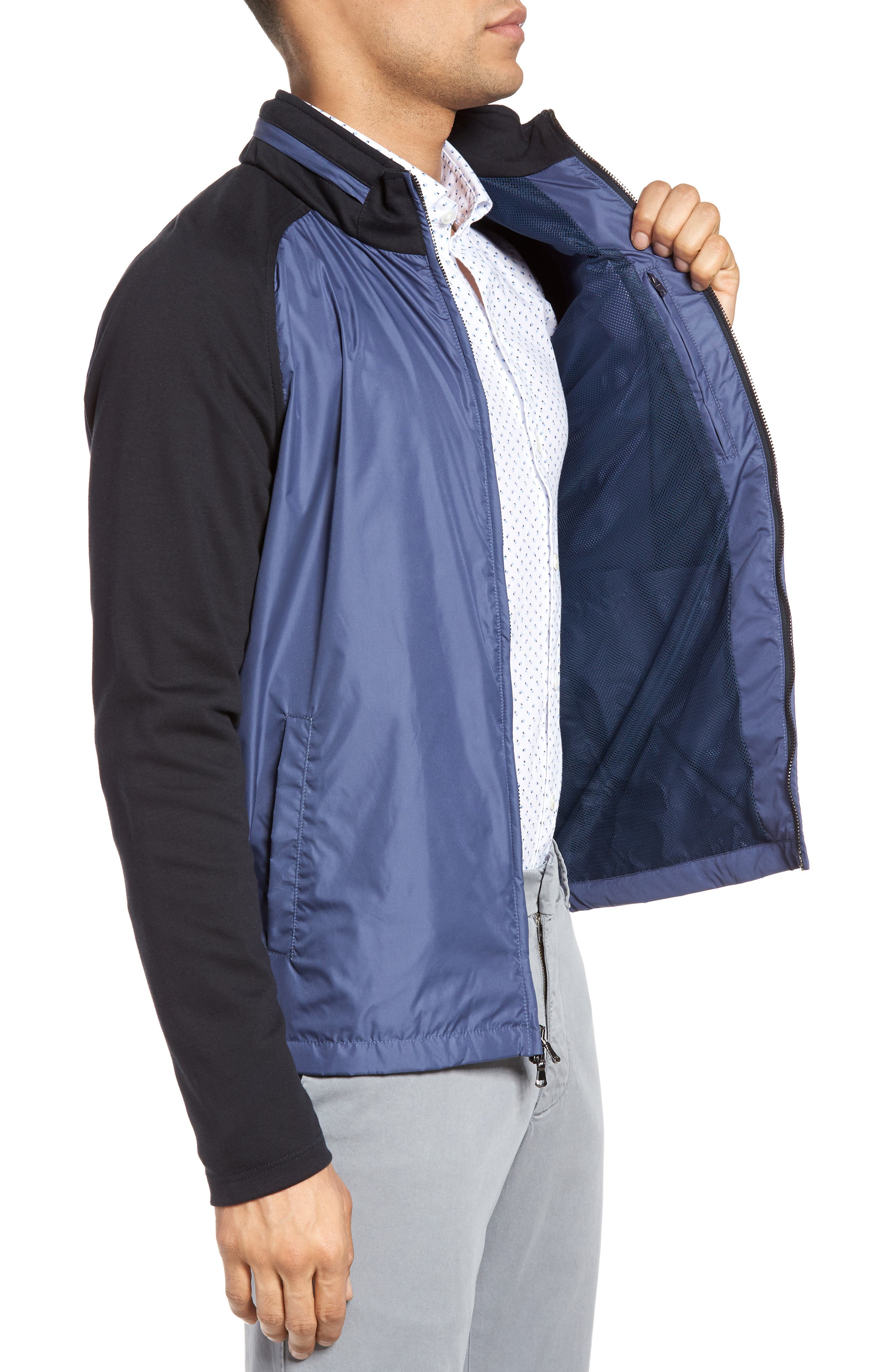 Syconium Mixed Media Zip Front Jacket,                             Alternate thumbnail 3, color,                             Blue