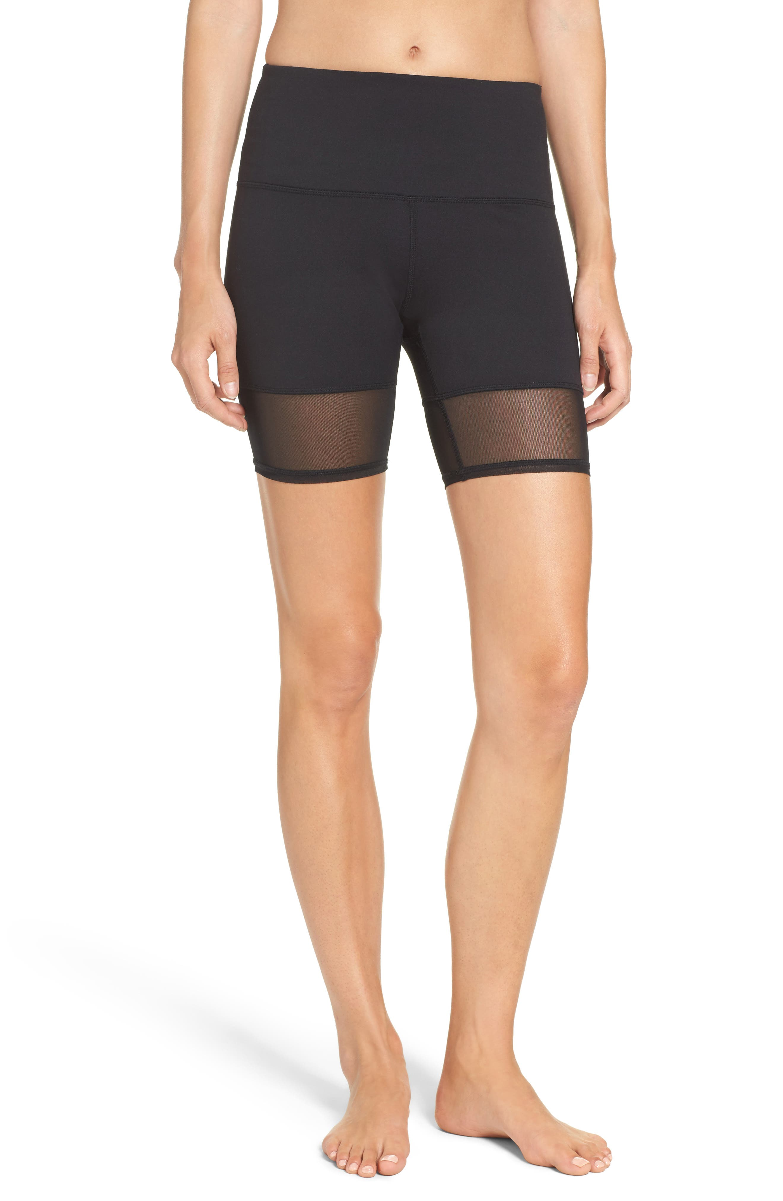 Mia High Waist Mesh Bike Shorts,                             Main thumbnail 1, color,                             Black