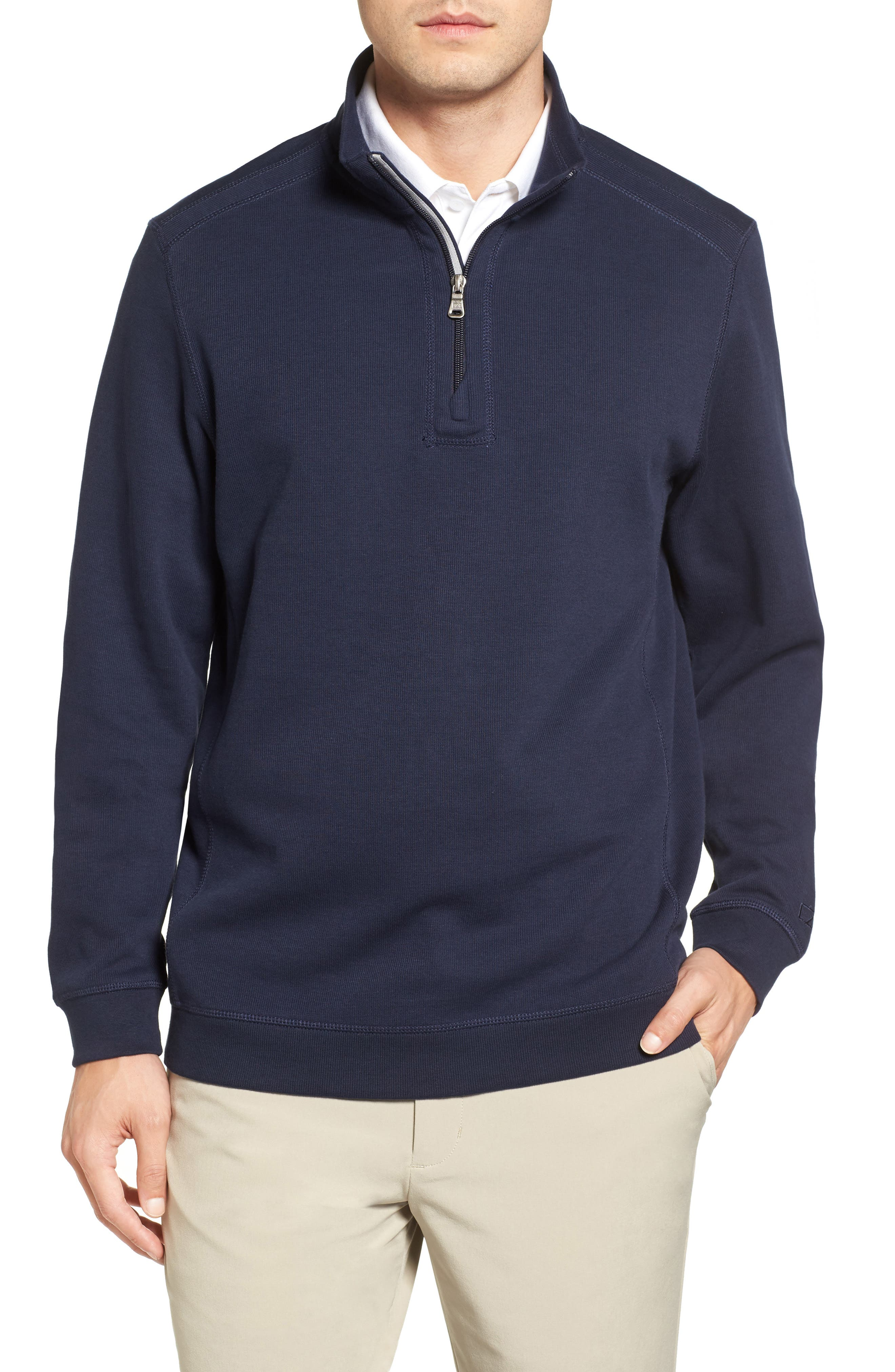 Bayview Quarter Zip Pullover,                         Main,                         color, Liberty Navy