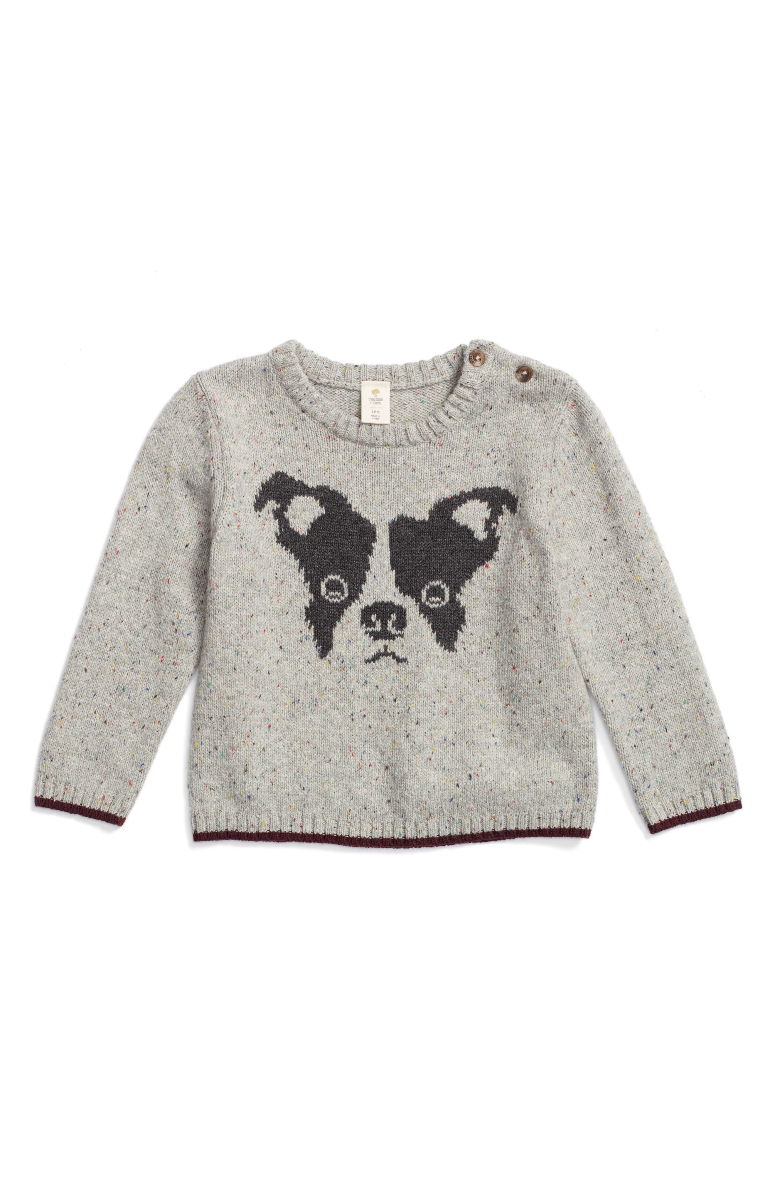 Intarsia Knit Dog Sweater,                             Main thumbnail 1, color,                             Grey Ash Heather Dog
