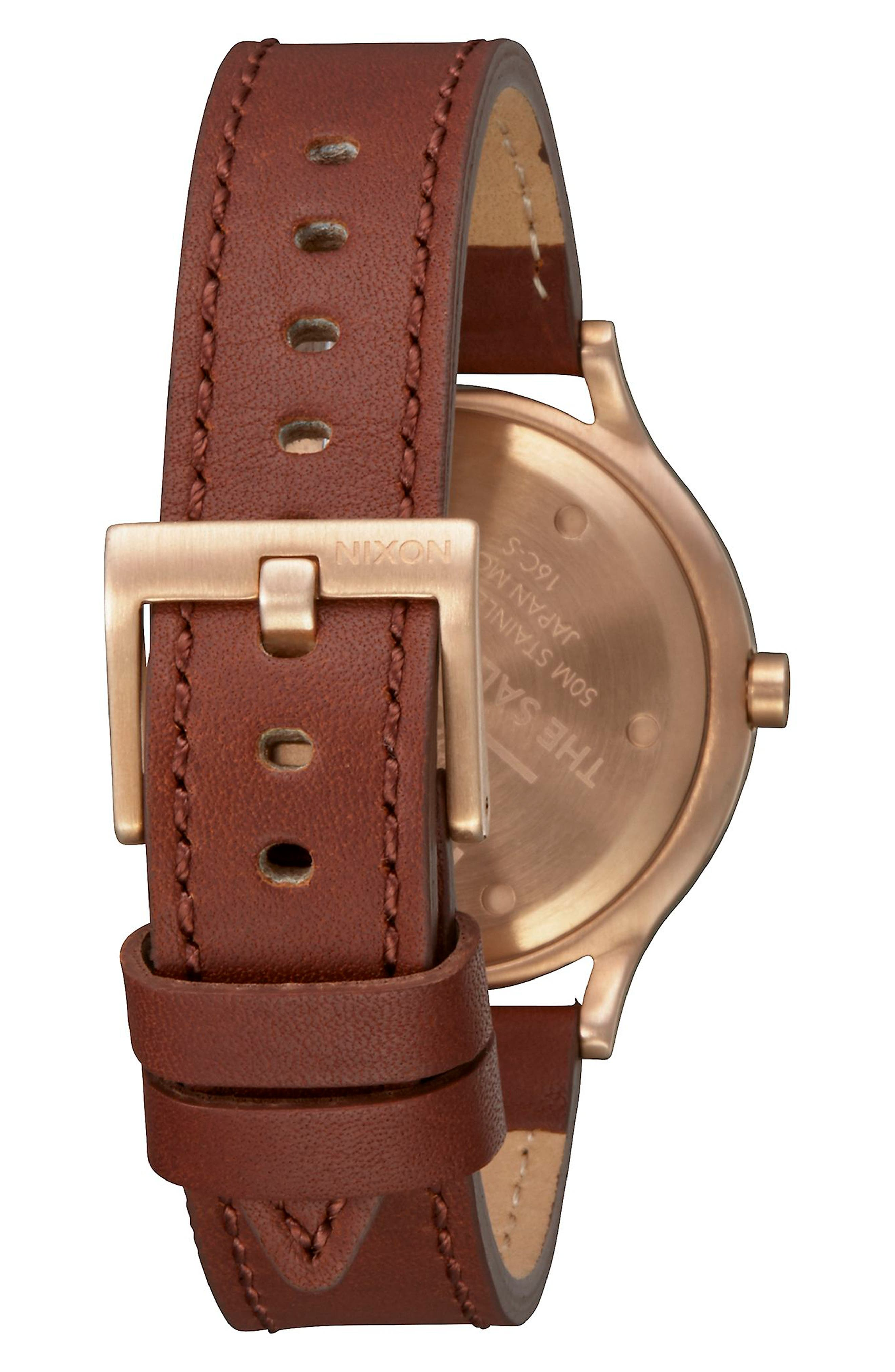 Sala Leather Strap Watch, 38mm,                             Alternate thumbnail 2, color,                             Brown/ White/ Rose Gold