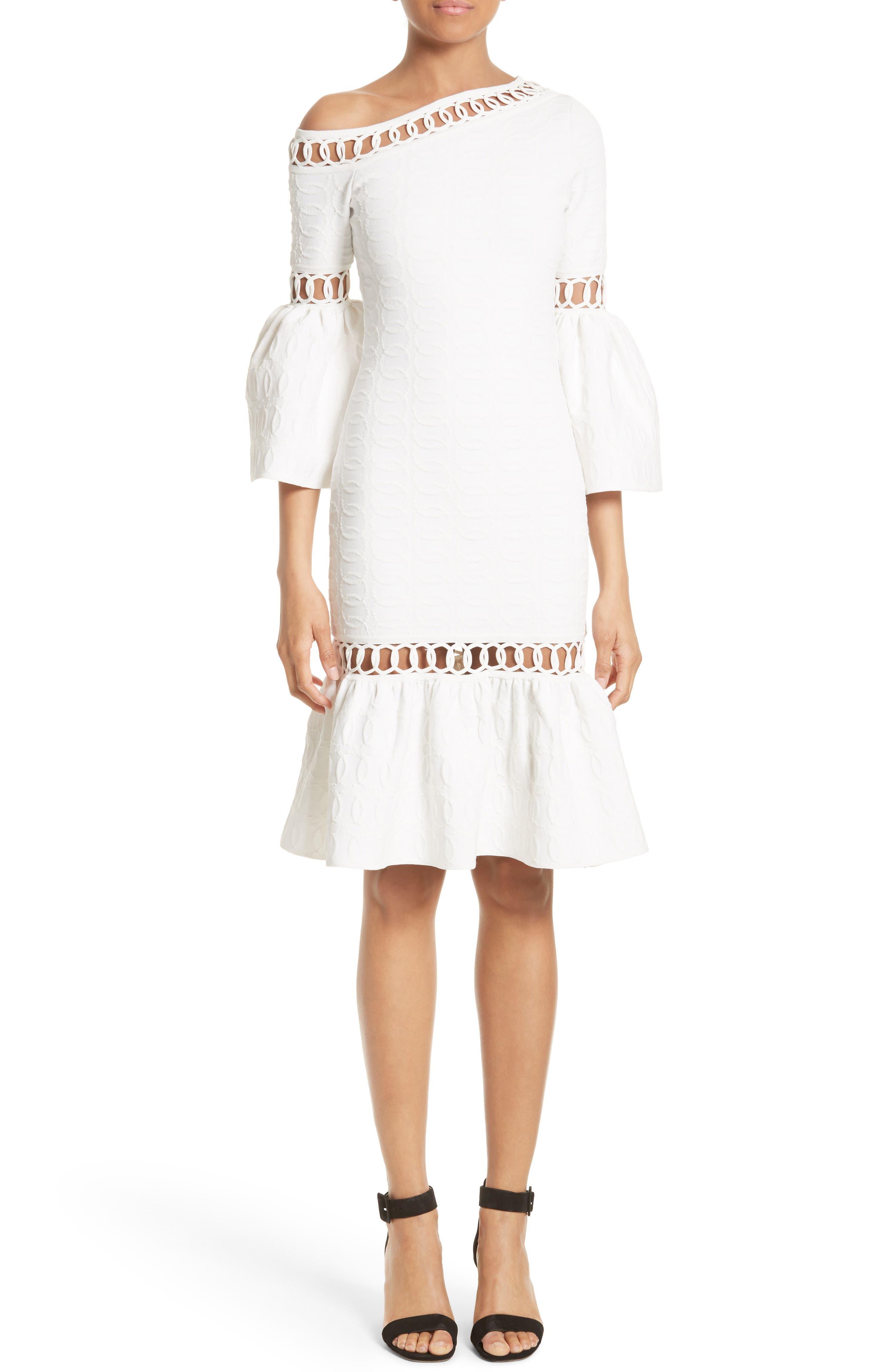 Jonathan Simkhai Chain Link Lace Fit & Flare Dress