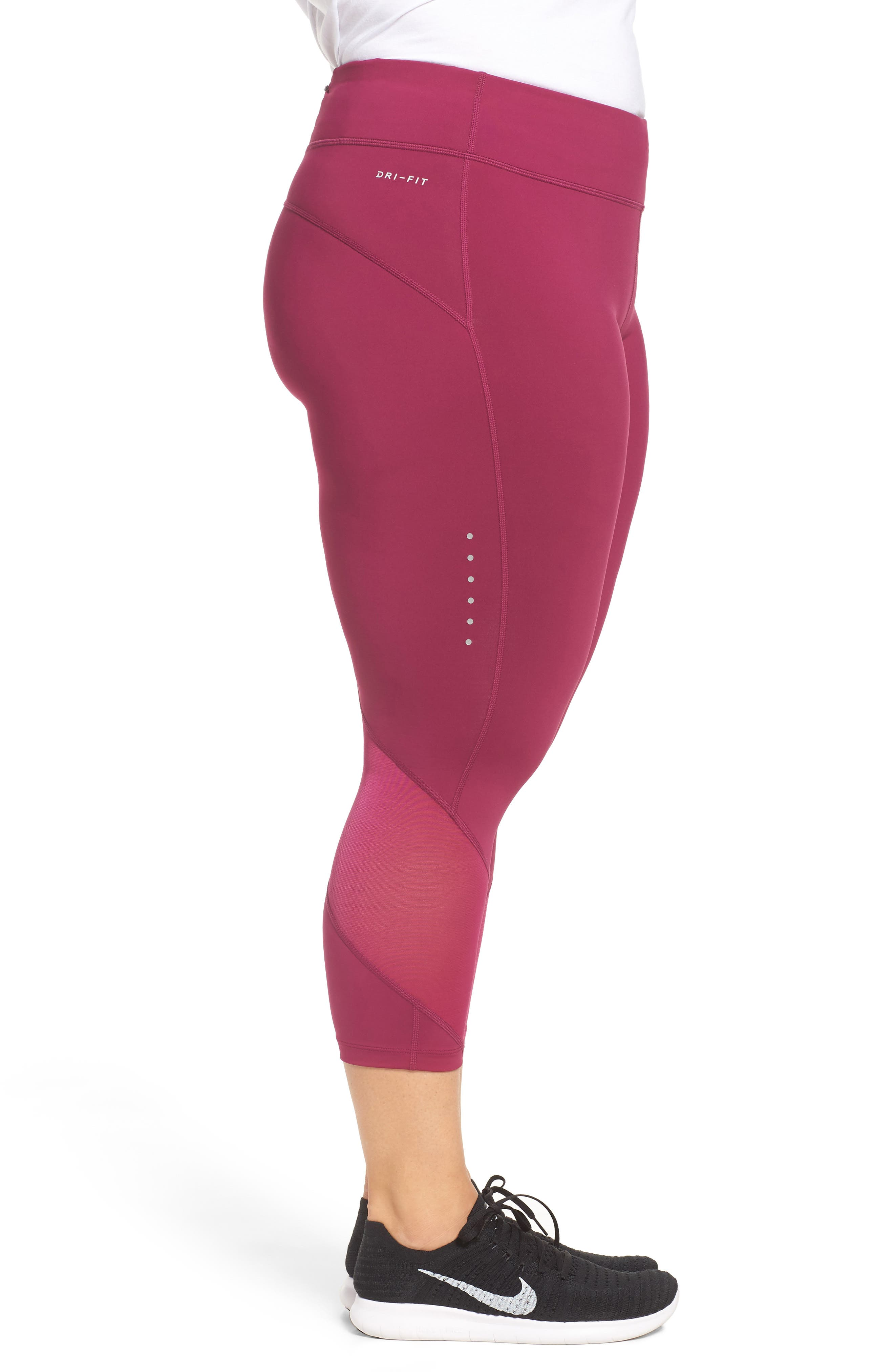 Power Epic Crop Run Tights,                             Alternate thumbnail 3, color,                             True Berry