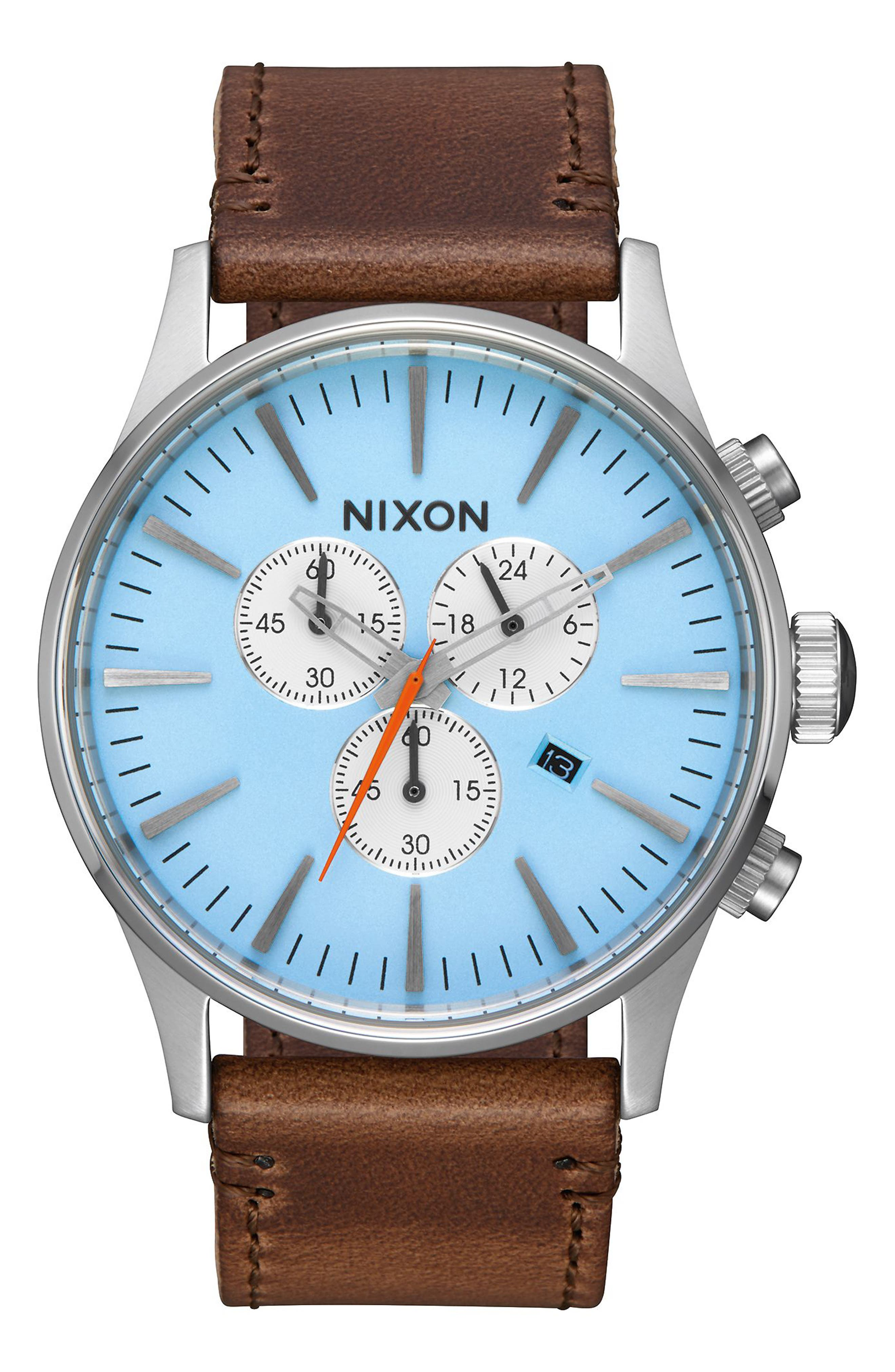 The Sentry Chronograph Leather Strap Watch, 42mm,                         Main,                         color, Taupe/ Sky Blue/ Silver