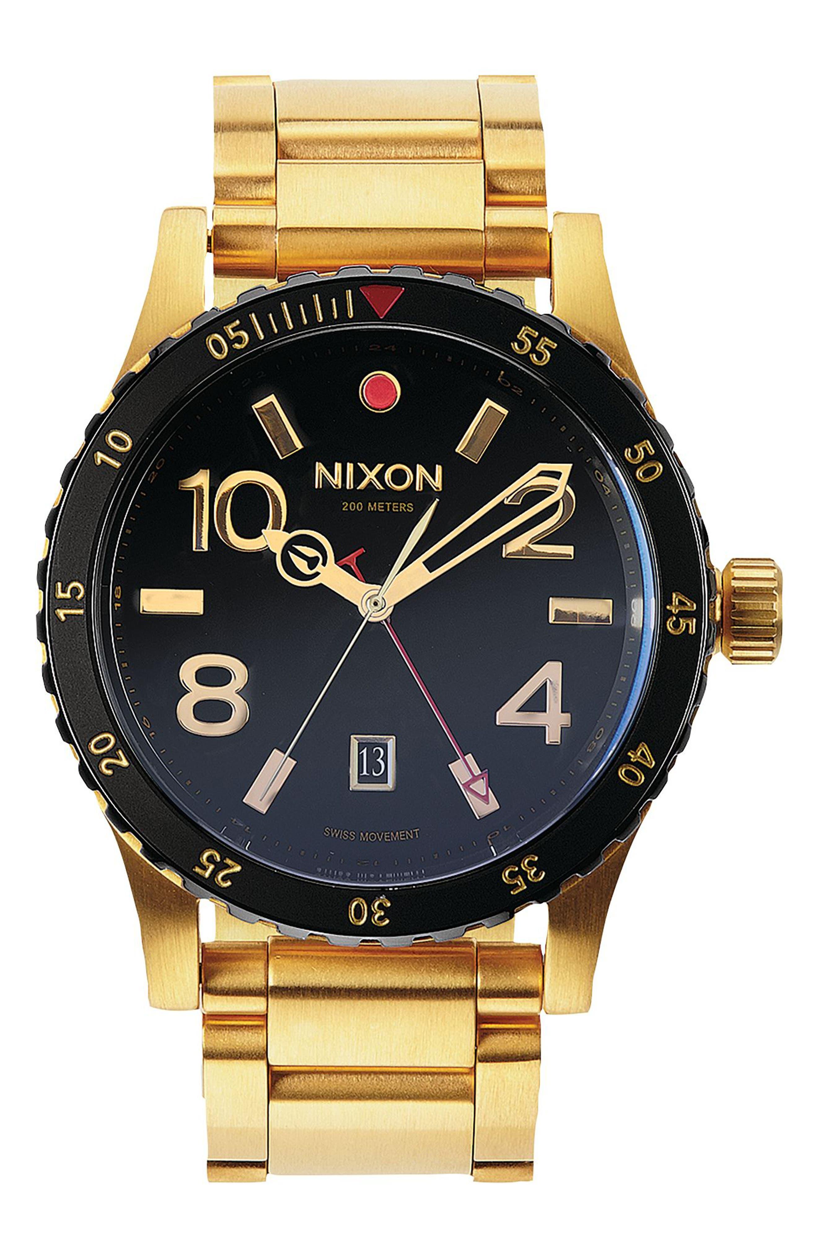 The Diplomat Bracelet Watch, 45mm,                         Main,                         color, Gold/ Black